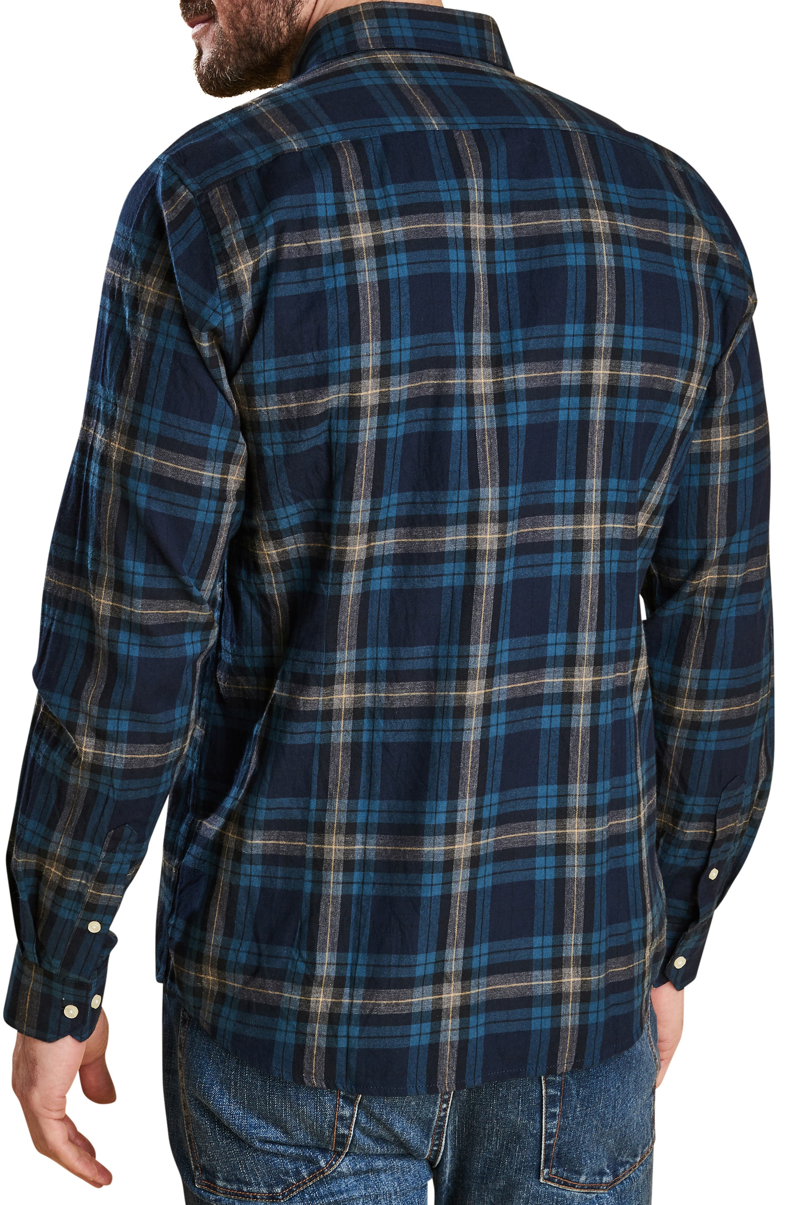 Stapleton Highland Check Sport Shirt,                             Alternate thumbnail 3, color,                             NAVY