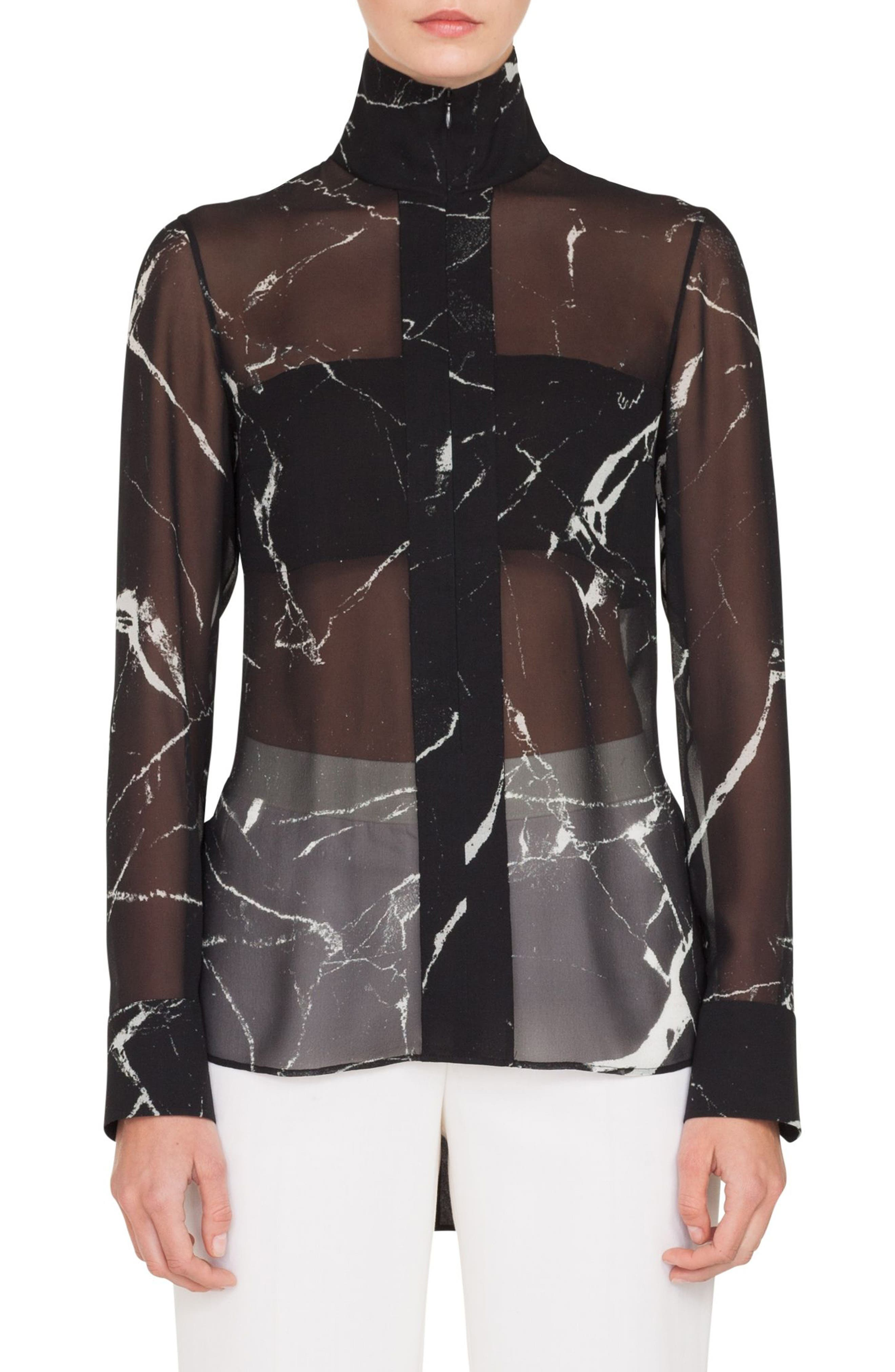 AKRIS Long-Sleeve Zip-Front Marble Tiles Print Silk Crepe Tunic Blouse in Black/ Paper