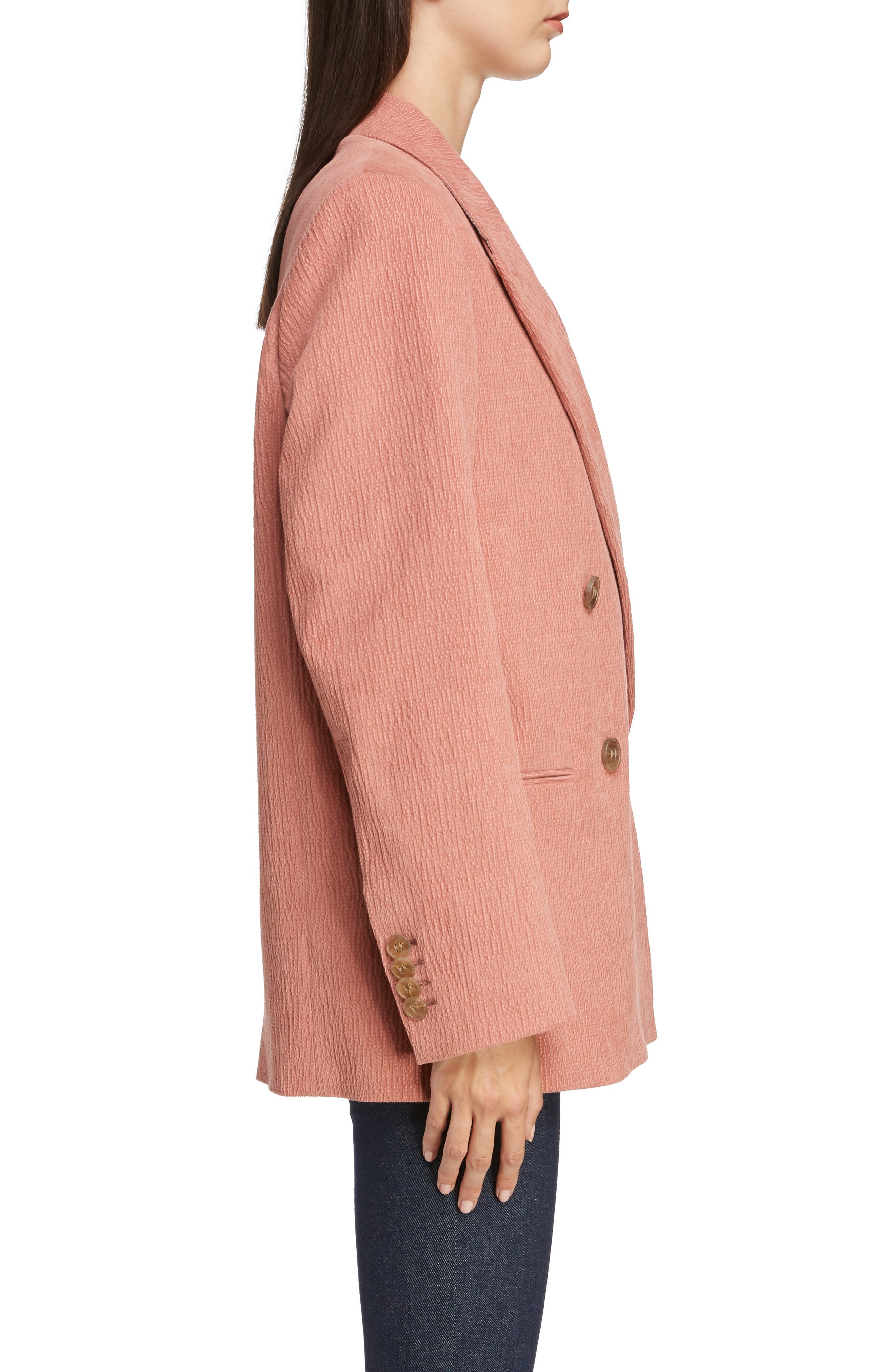 ACNE STUDIOS,                             Corduroy Double Breasted Blazer,                             Alternate thumbnail 3, color,                             OLD PINK
