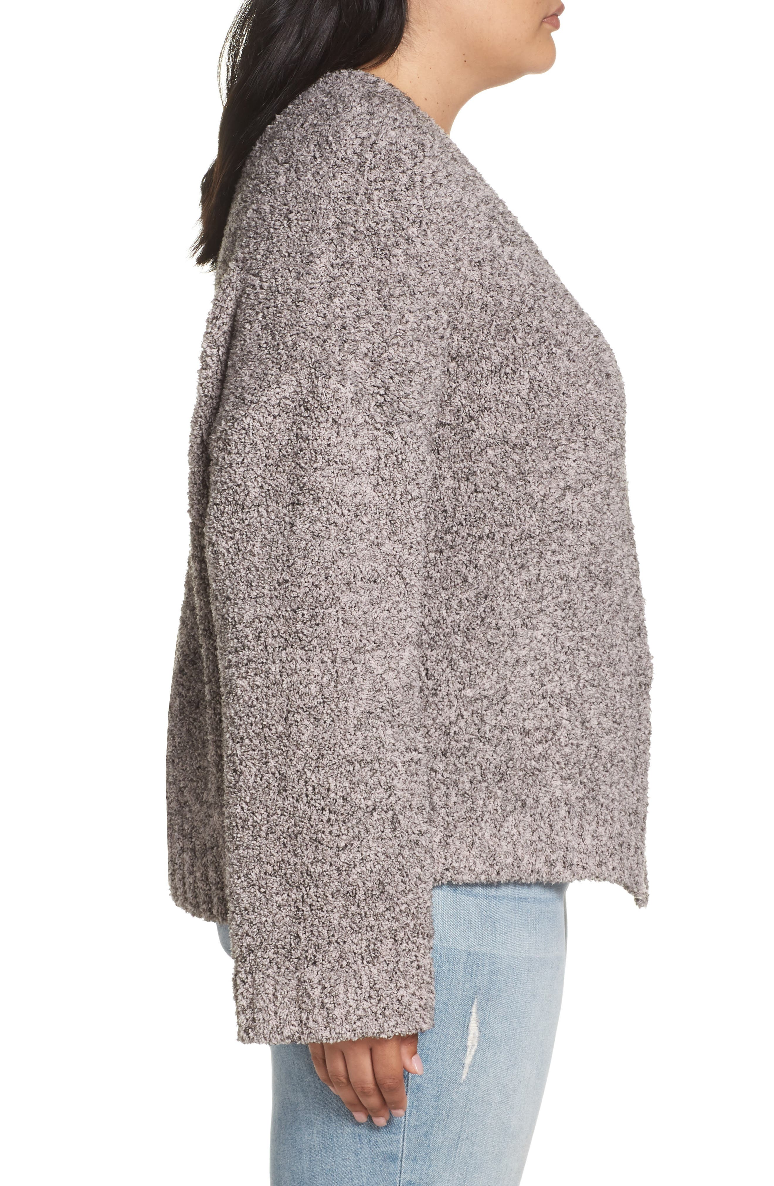 BP.,                             Fluffy Cardigan,                             Alternate thumbnail 3, color,                             PINK ADOBE COZY MARL