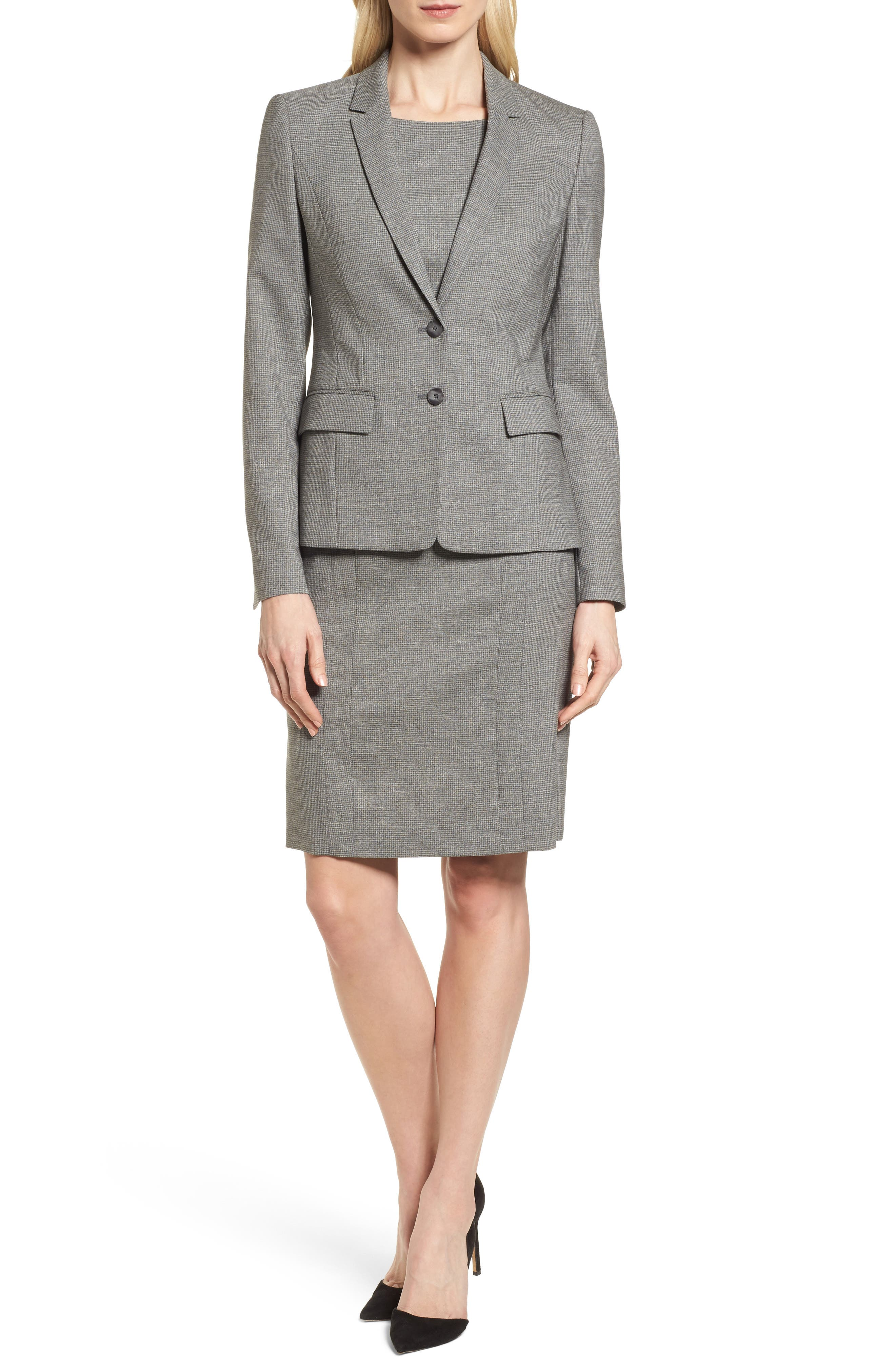 Dewisa Check Wool Sheath Dress,                             Alternate thumbnail 7, color,
