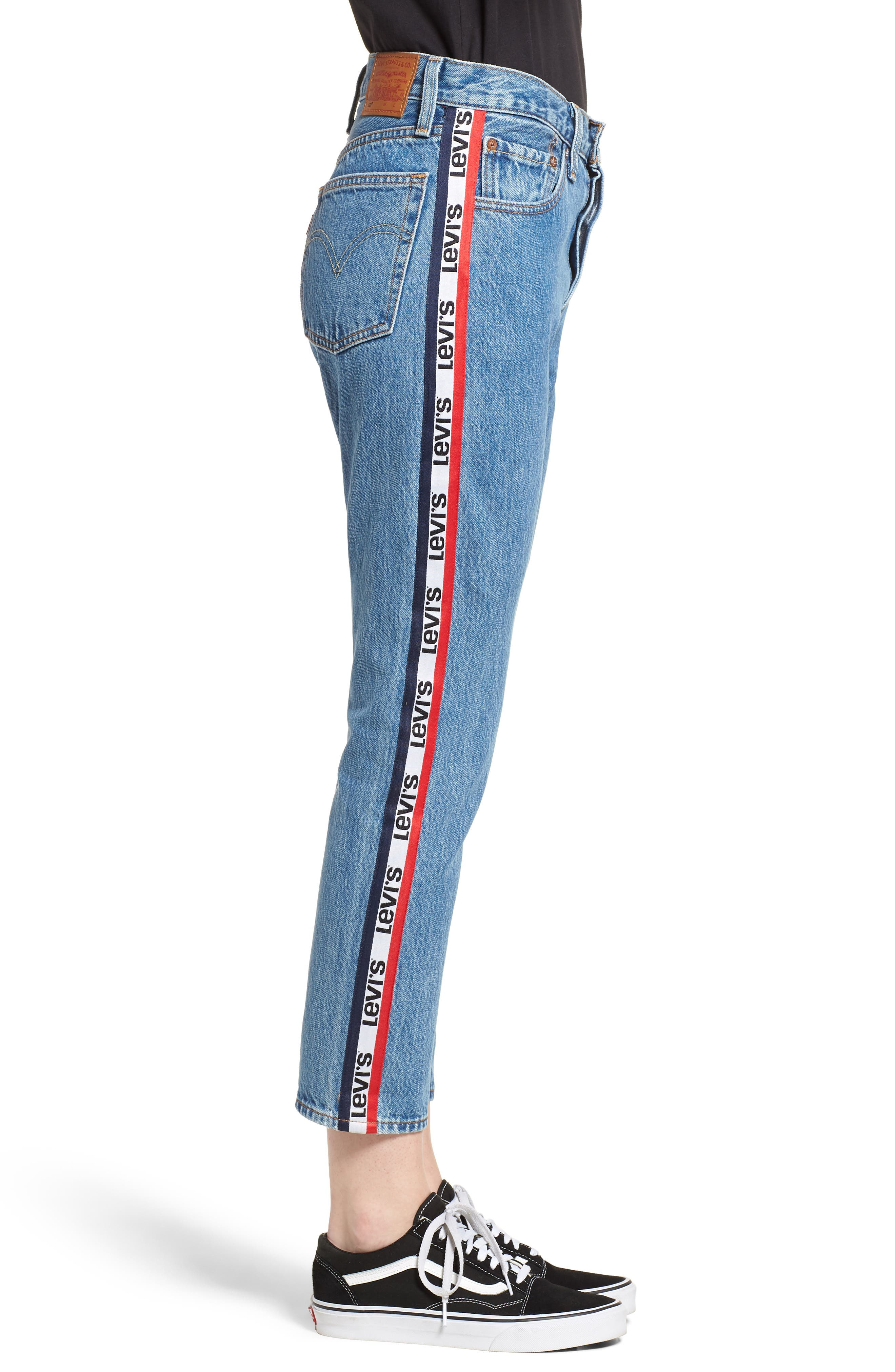 501 High Waist Crop Jeans,                             Alternate thumbnail 3, color,                             SPECTATOR SPORT
