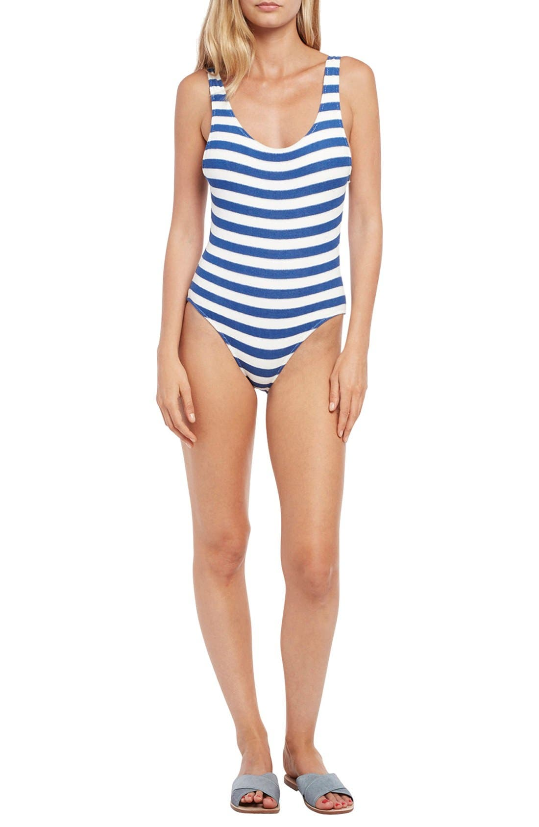 'The Anne-Marie' Scoop Back One-Piece Swimsuit,                             Main thumbnail 1, color,                             400