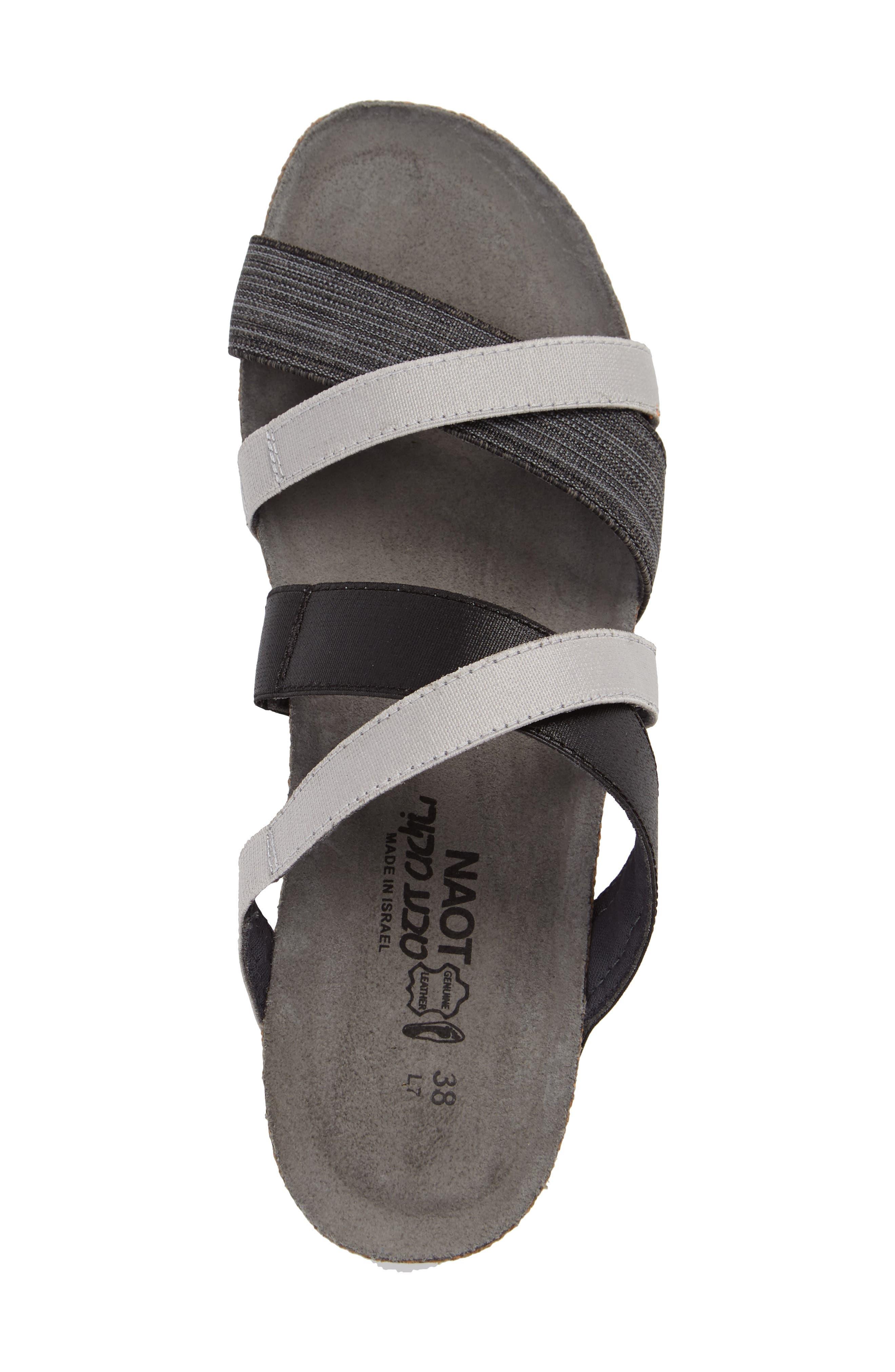 Roxana Strappy Slip-On Sandal,                             Alternate thumbnail 3, color,                             BLACK/ GREY FABRIC