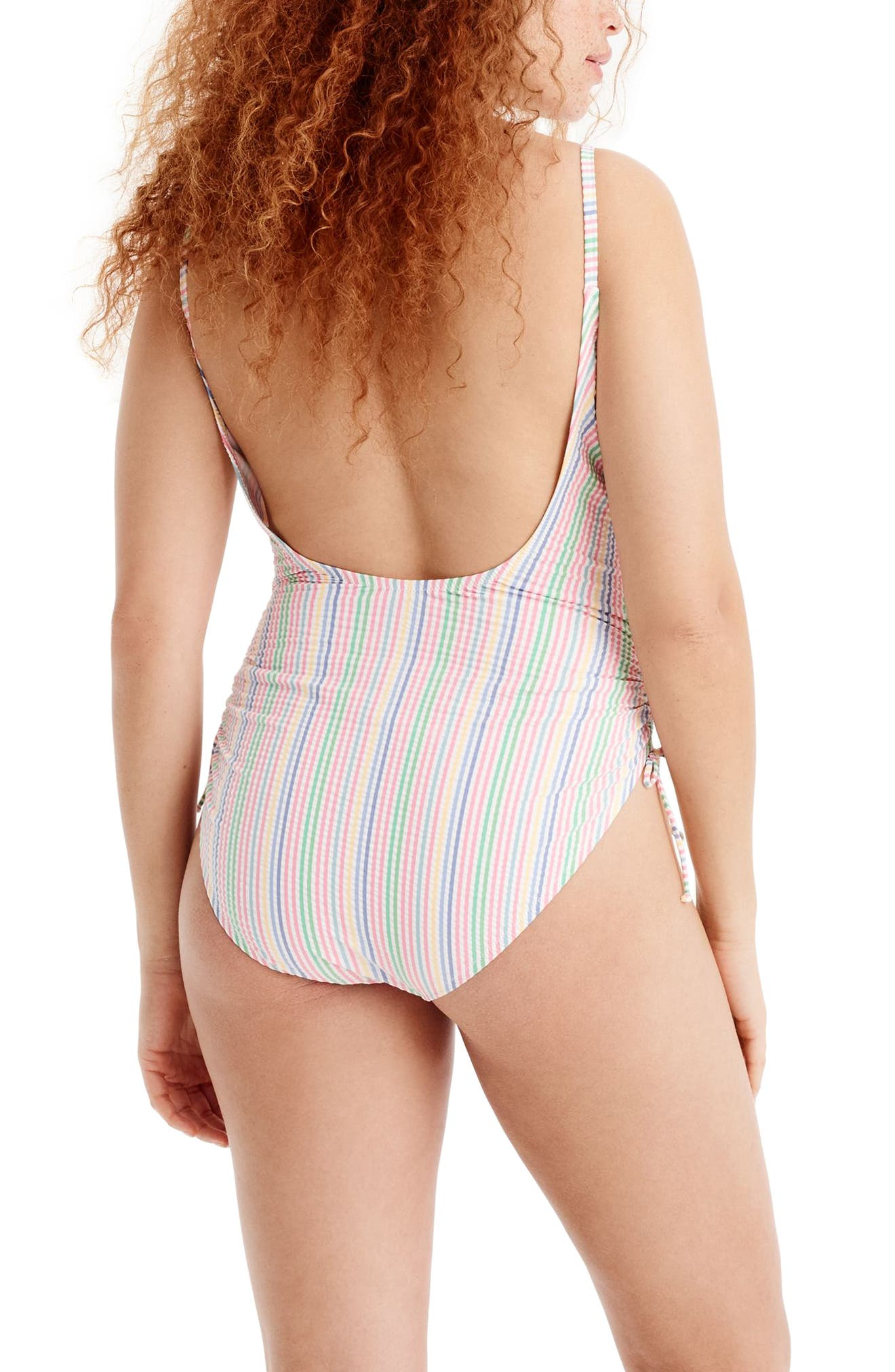 Ruched Seersucker One-Piece Swimsuit,                             Alternate thumbnail 5, color,                             400