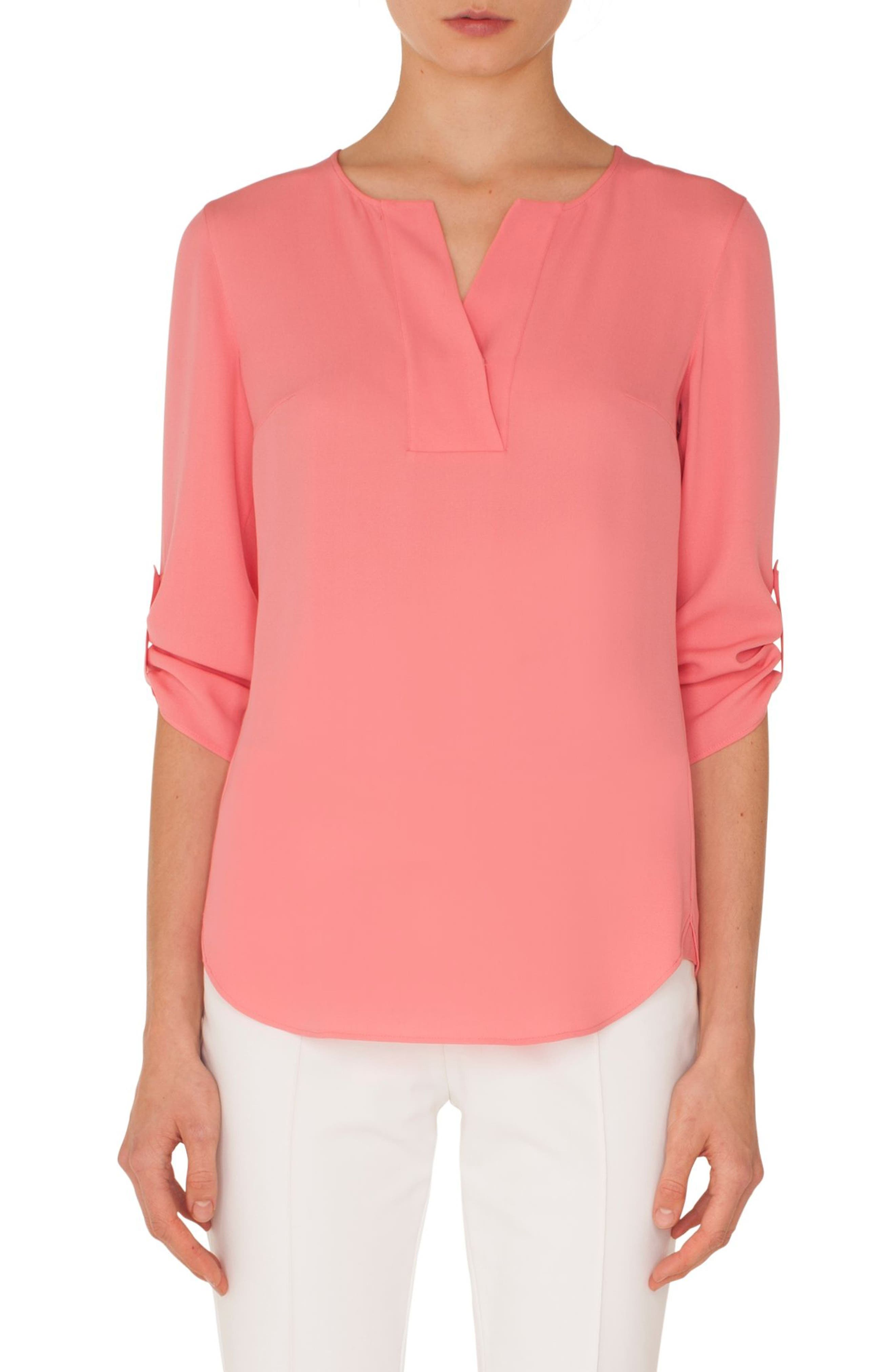 AKRIS PUNTO Split-Neck 3/4-Sleeve Silk Blouse in Peony