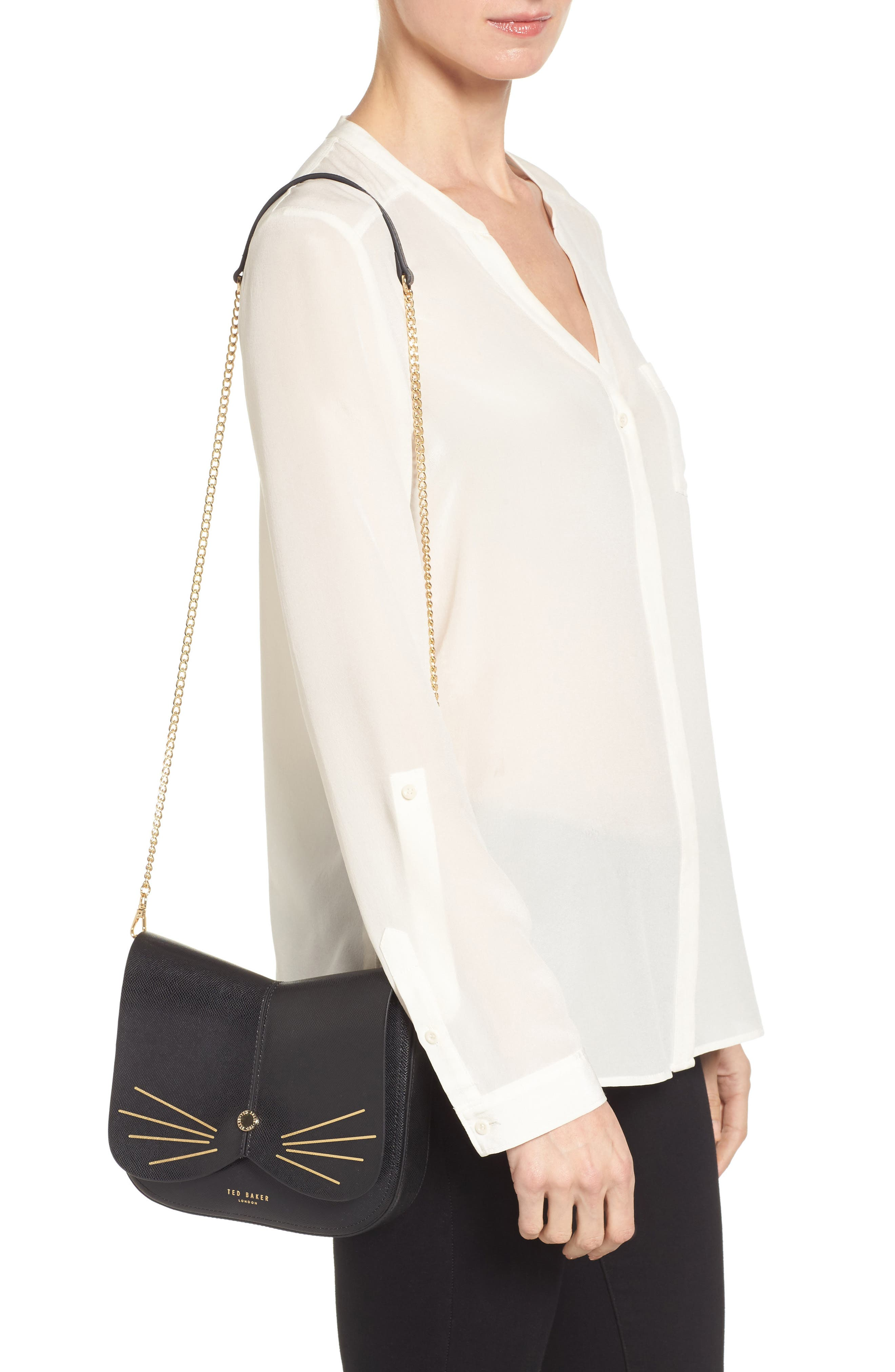 Kittii Cat Leather Crossbody Bag,                             Alternate thumbnail 2, color,                             001