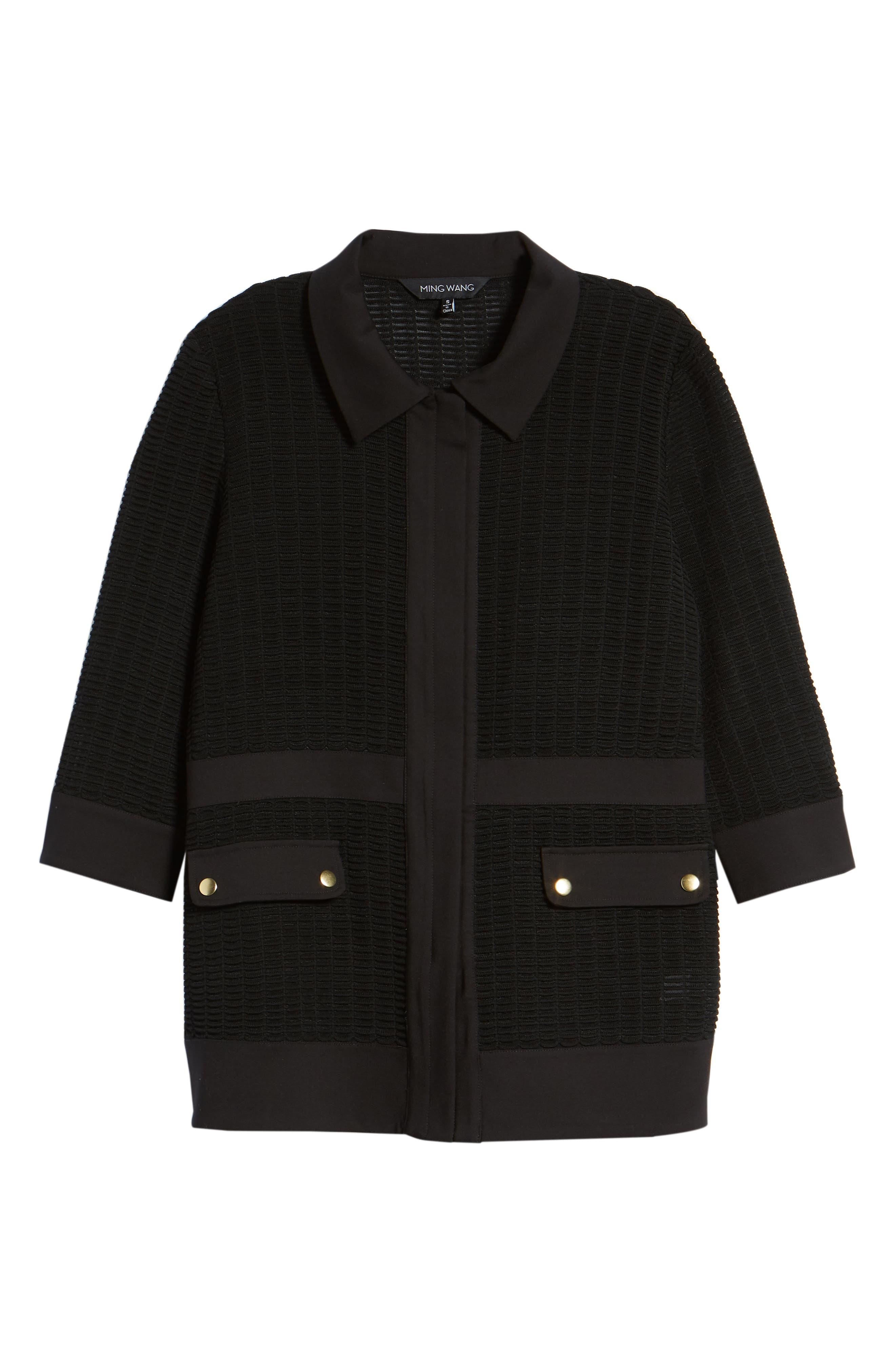 Jacquard Jacket,                             Alternate thumbnail 6, color,                             BLACK