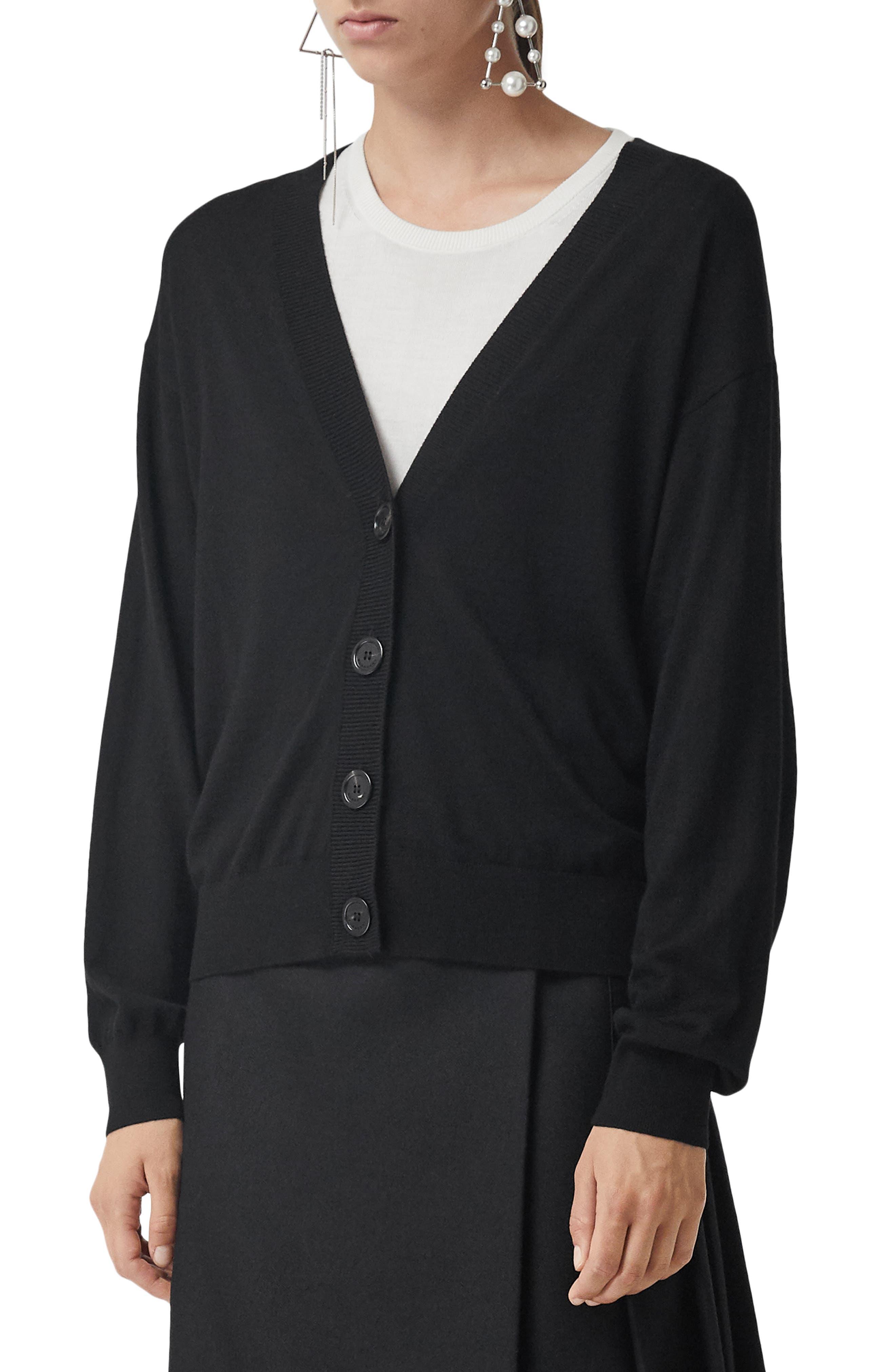 Burberry Dornoch Check Detail Merino Wool Cardigan, Black