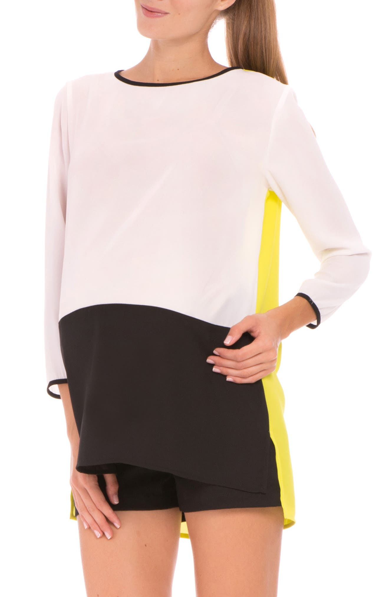 'Mia' Colorblock Maternity Top,                             Alternate thumbnail 5, color,                             001