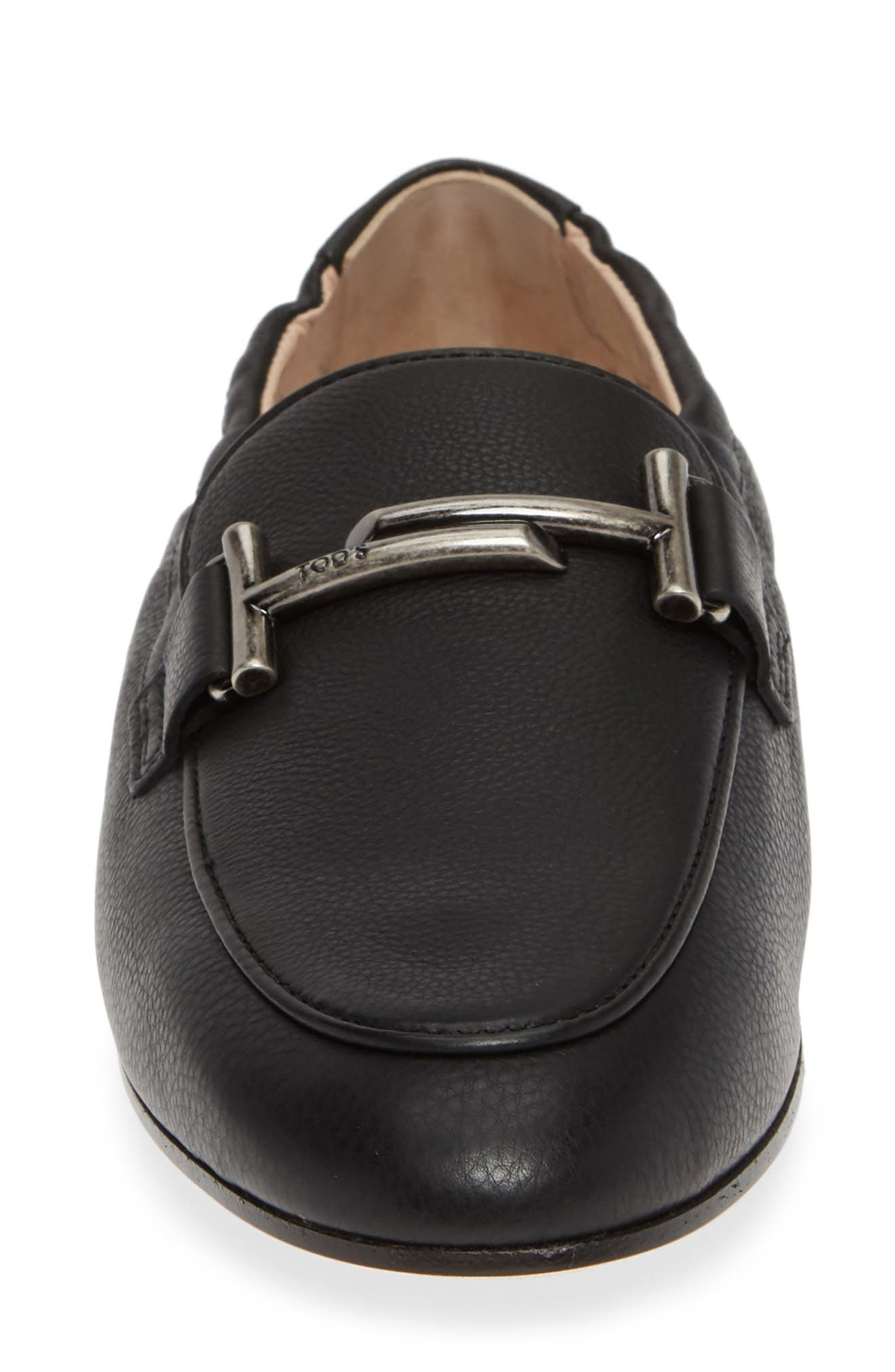 Double T Loafer,                             Alternate thumbnail 4, color,                             BLACK LEATHER