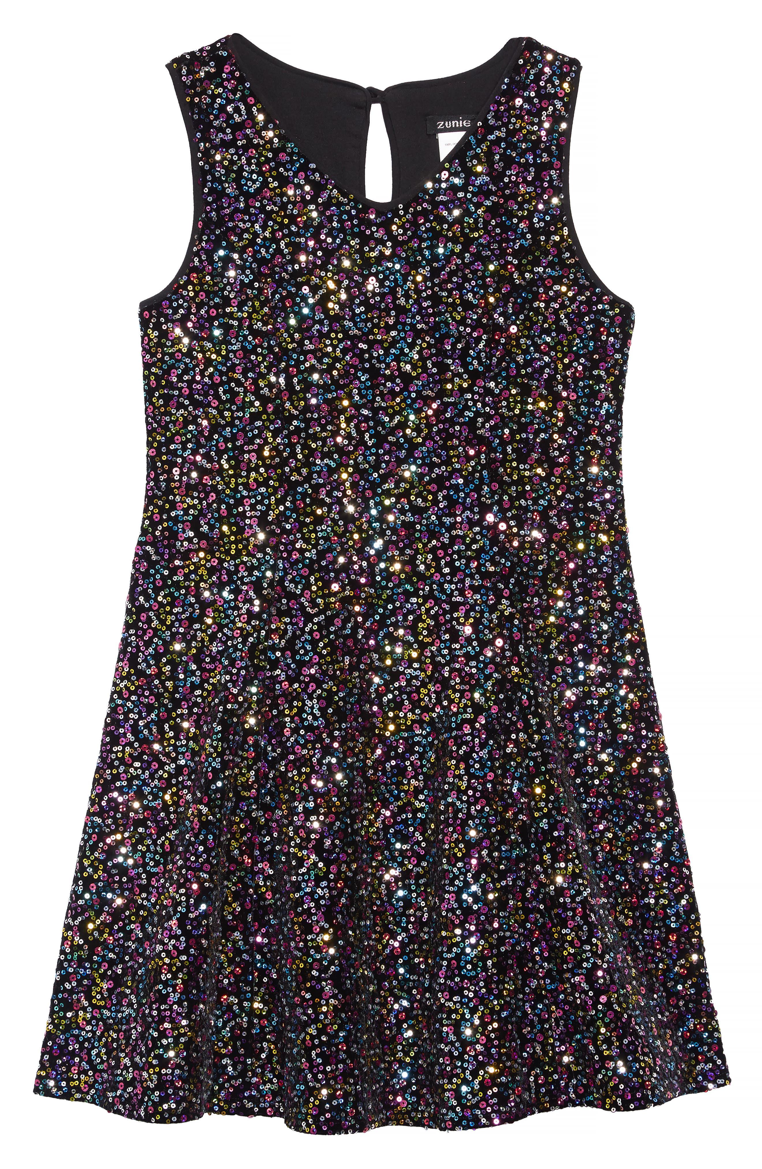 Velvet Sequin Embellished Dress,                             Main thumbnail 1, color,                             BLACK MULTI