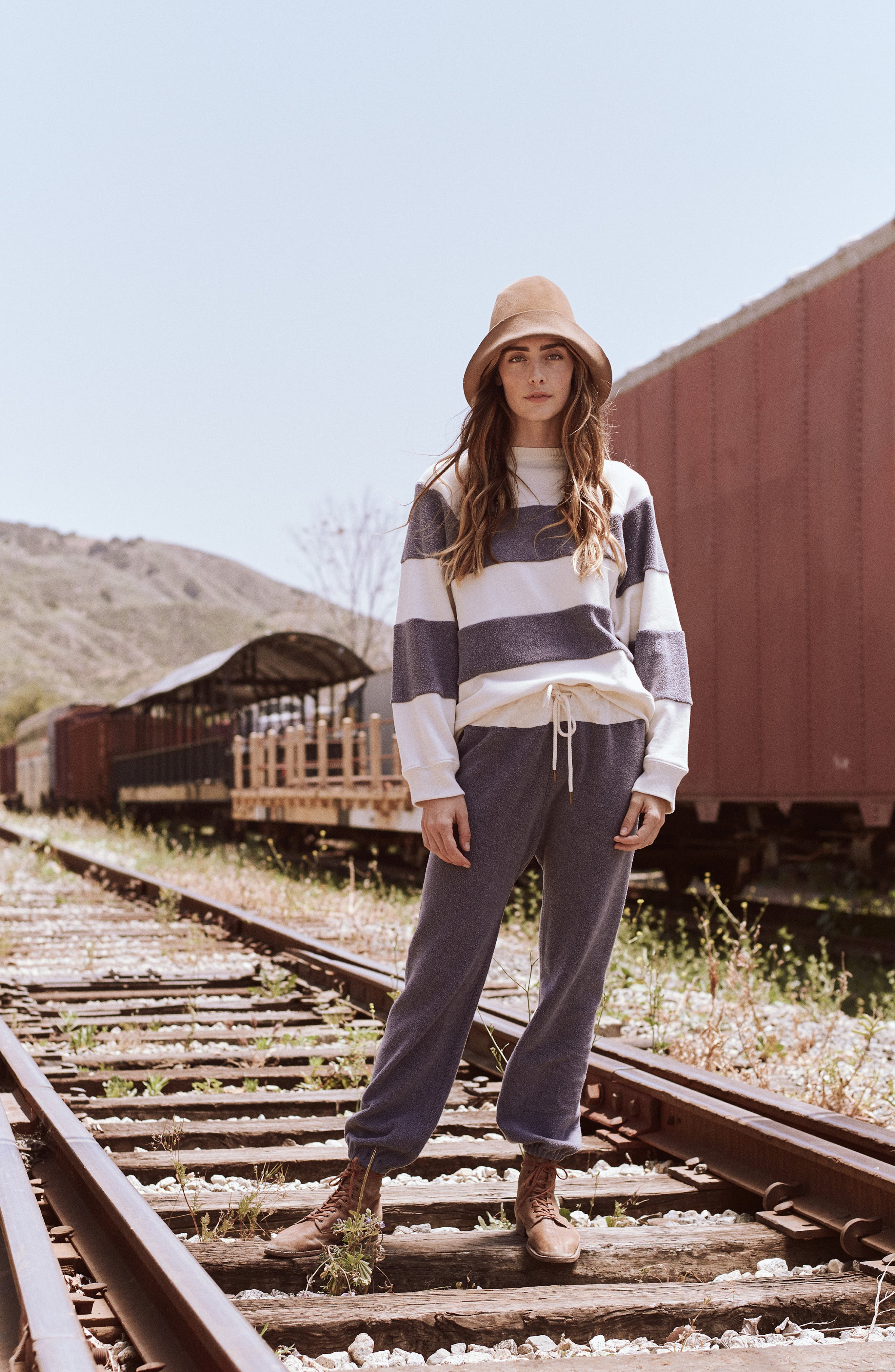 Fleece Stripe Slouch Sweatshirt,                             Alternate thumbnail 8, color,                             ENGINE BLUE AND CREAM