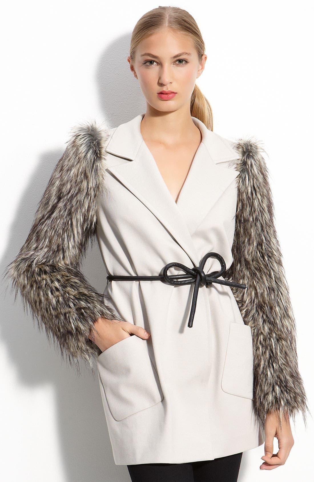 Faux Fur Sleeve Coat,                             Main thumbnail 1, color,                             251