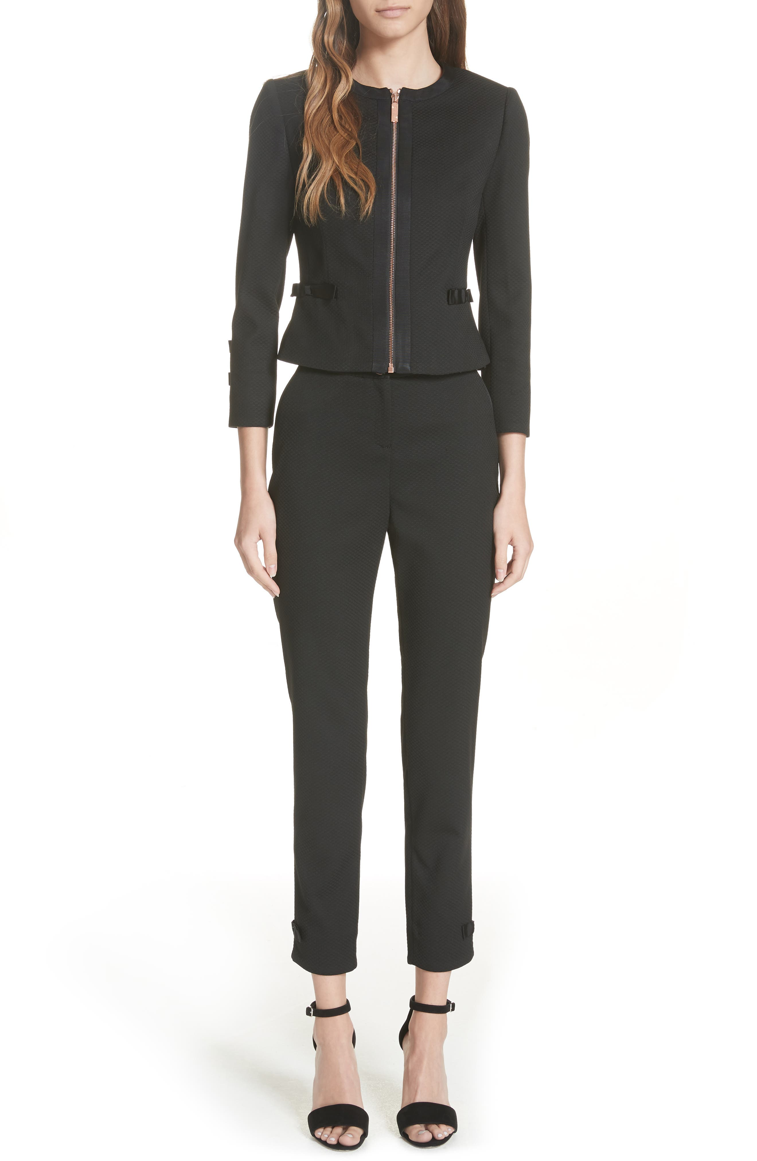 Ted Working Title Nadae Cropped Textured Jacket,                             Alternate thumbnail 7, color,                             BLACK