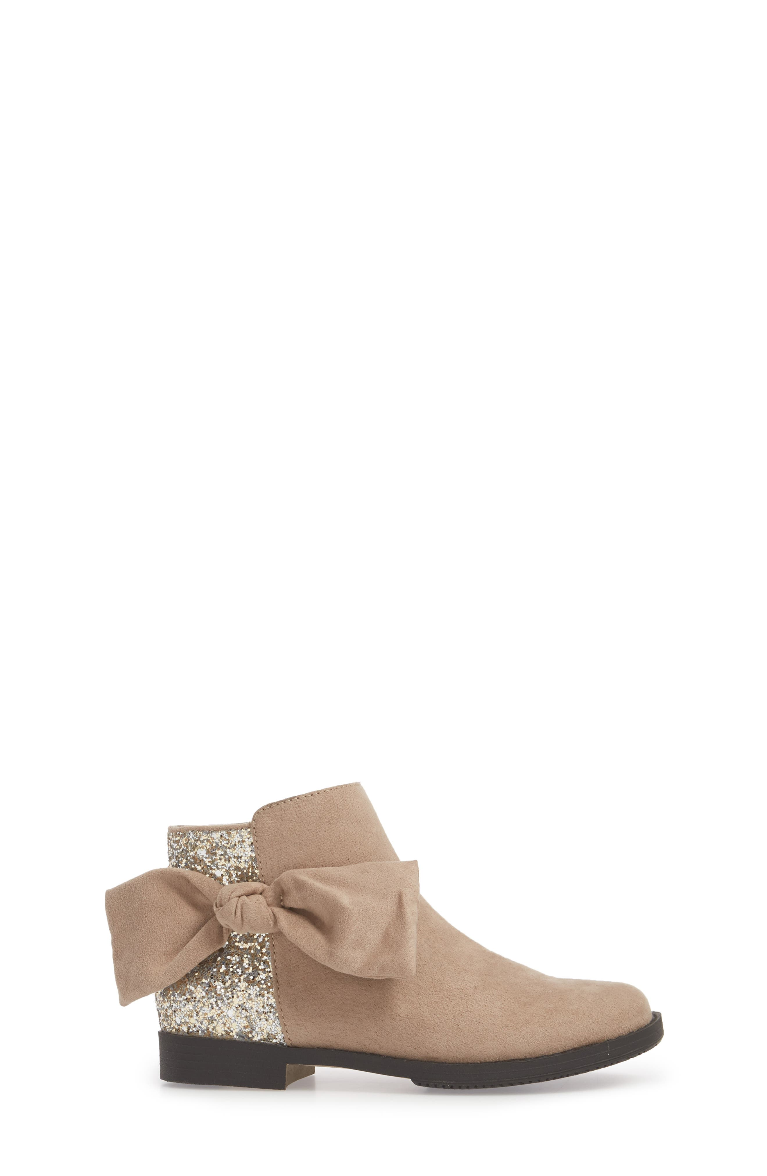 Glittery Kennedy Tie Bootie,                             Alternate thumbnail 3, color,                             TAUPE