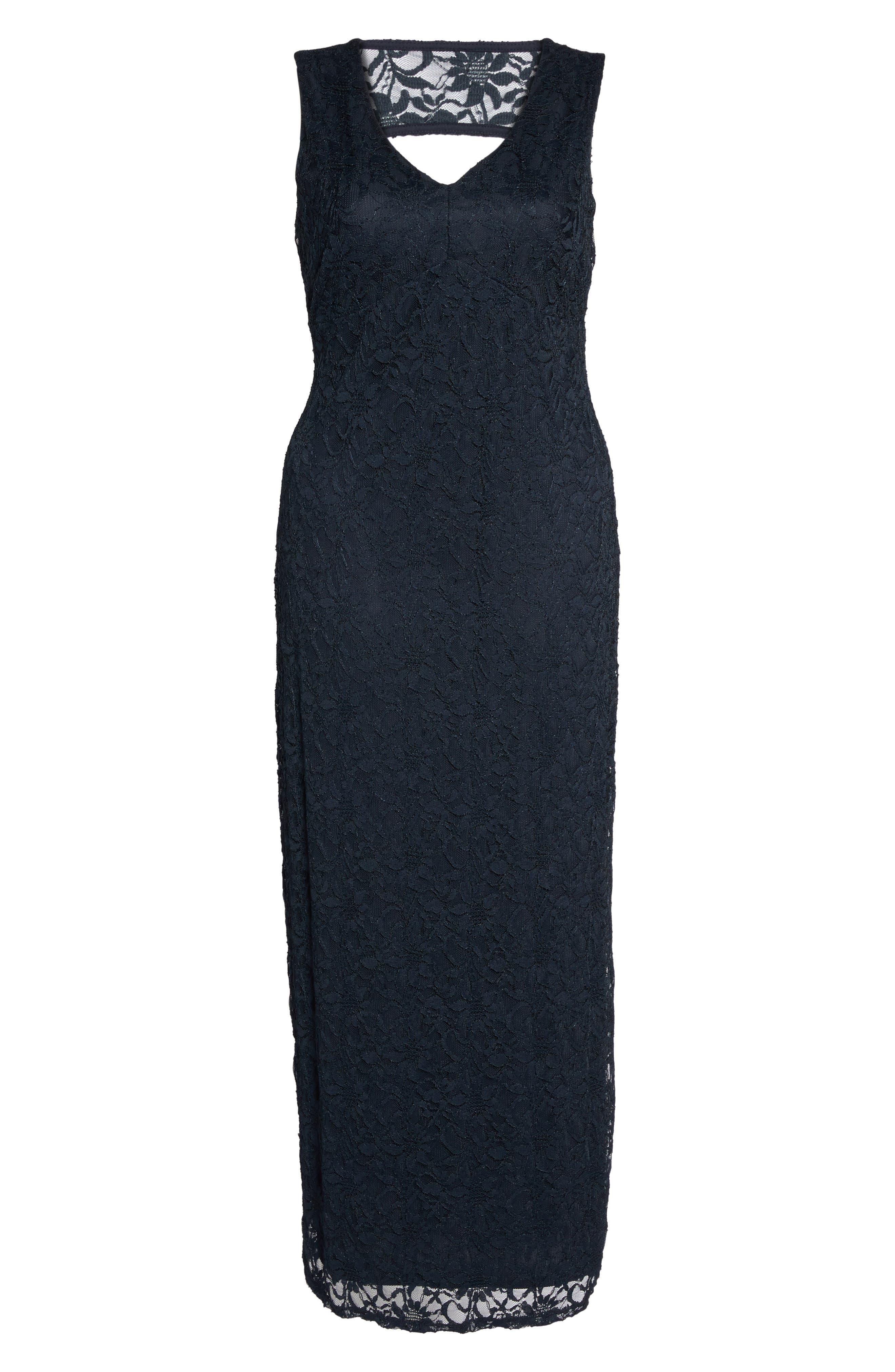 Cutout Back Lace Empire Gown,                             Alternate thumbnail 6, color,                             410
