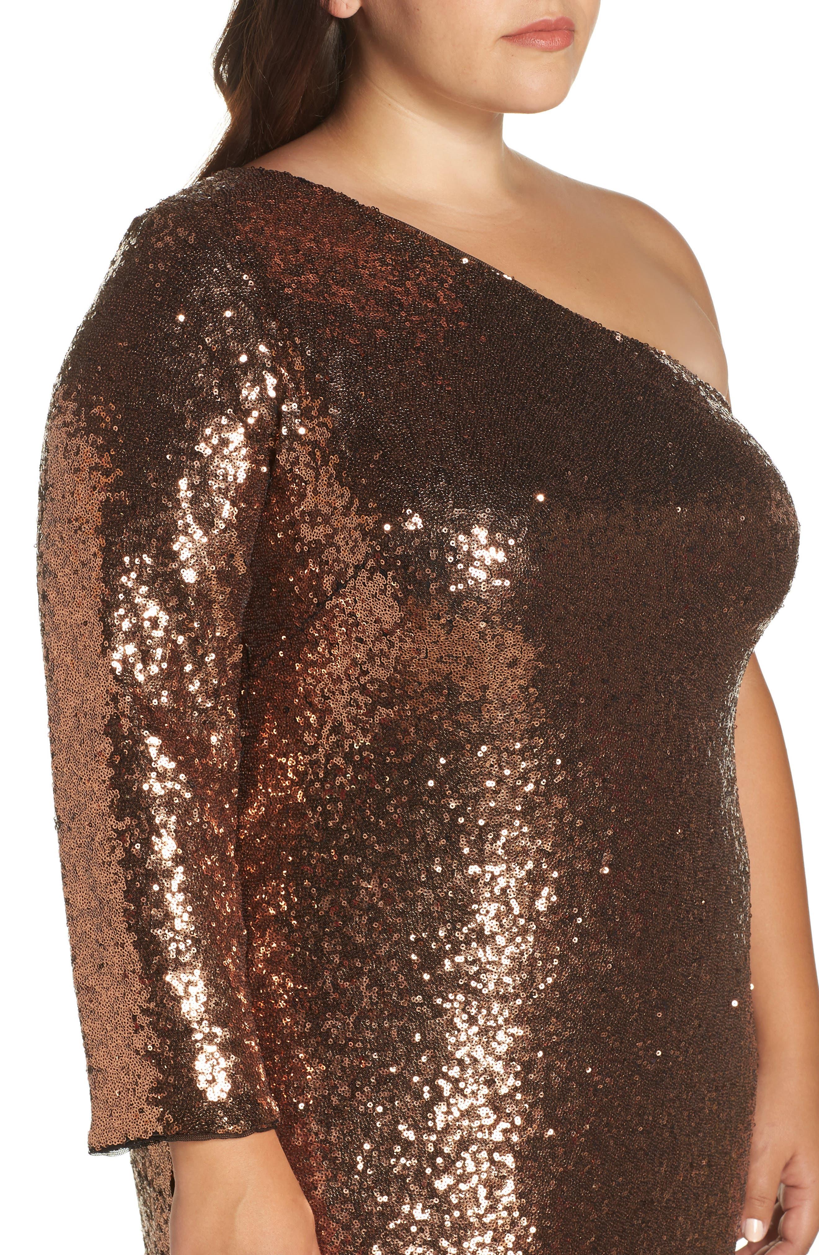 One Shoulder Sequin Party Dress,                             Alternate thumbnail 4, color,                             COPPER