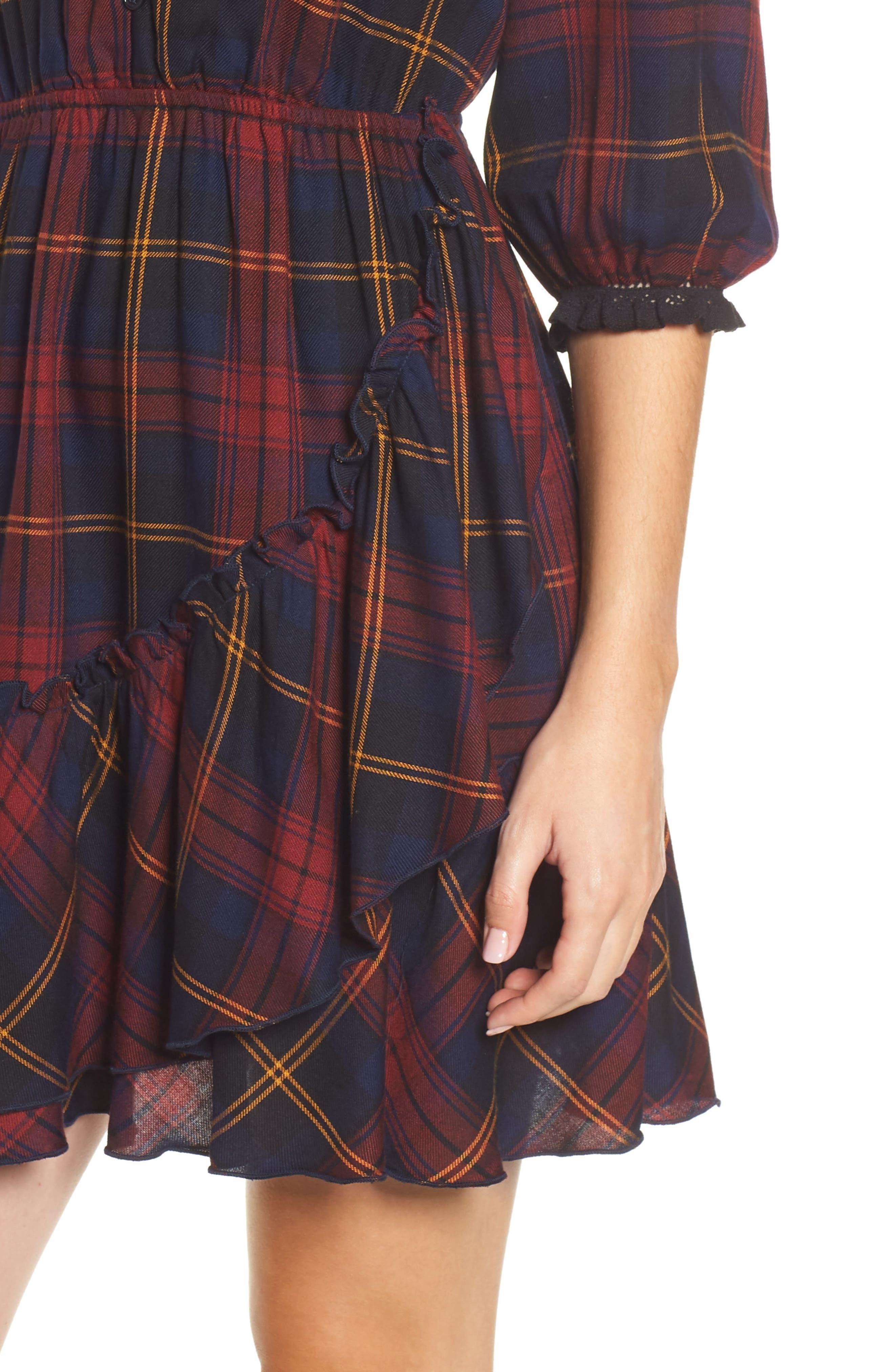 Plaid Ruffle Hem Dress,                             Alternate thumbnail 4, color,                             400