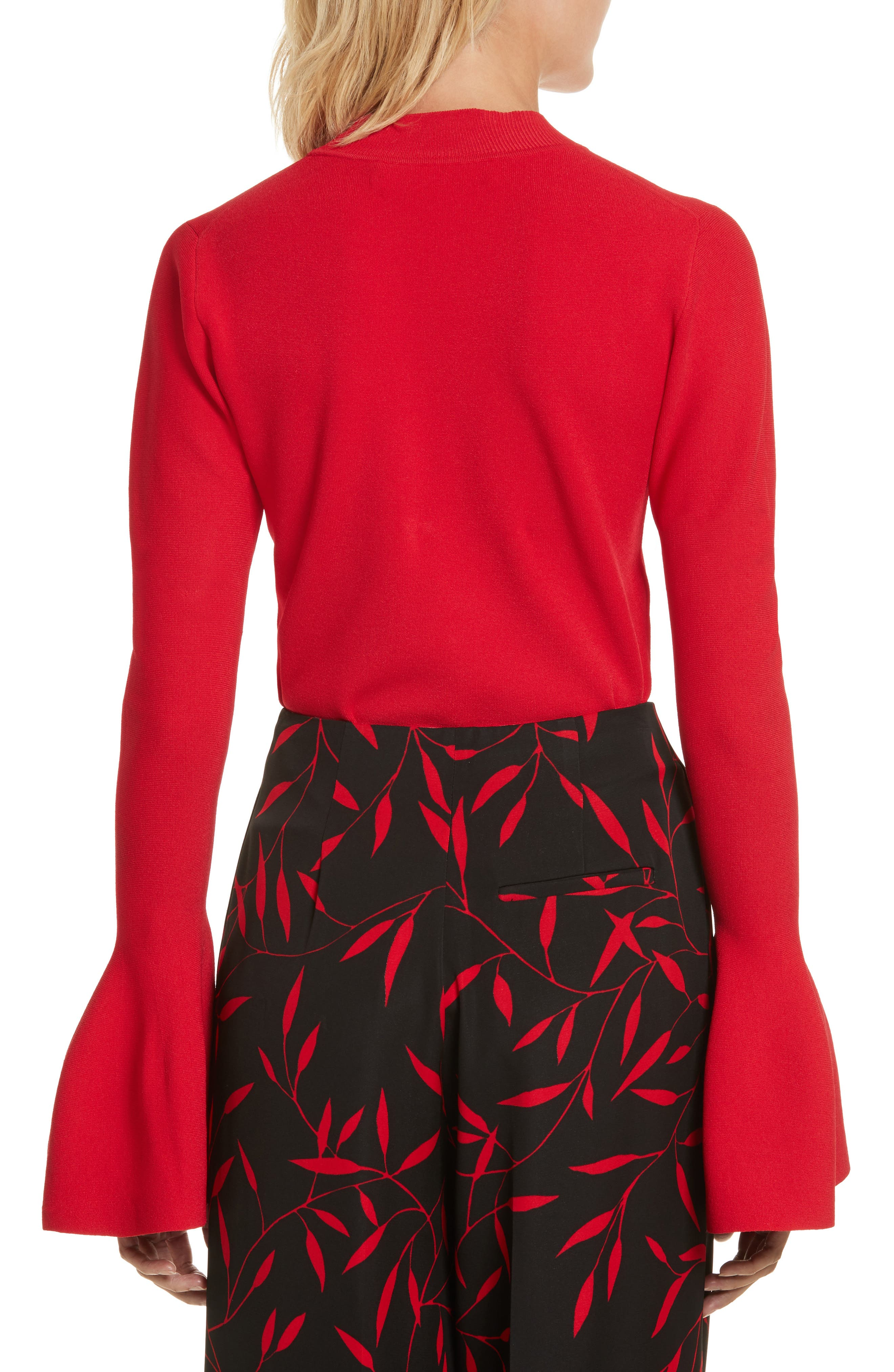 Diane von Furstenberg Flutter Sleeve Mock Neck Sweater,                             Alternate thumbnail 4, color,