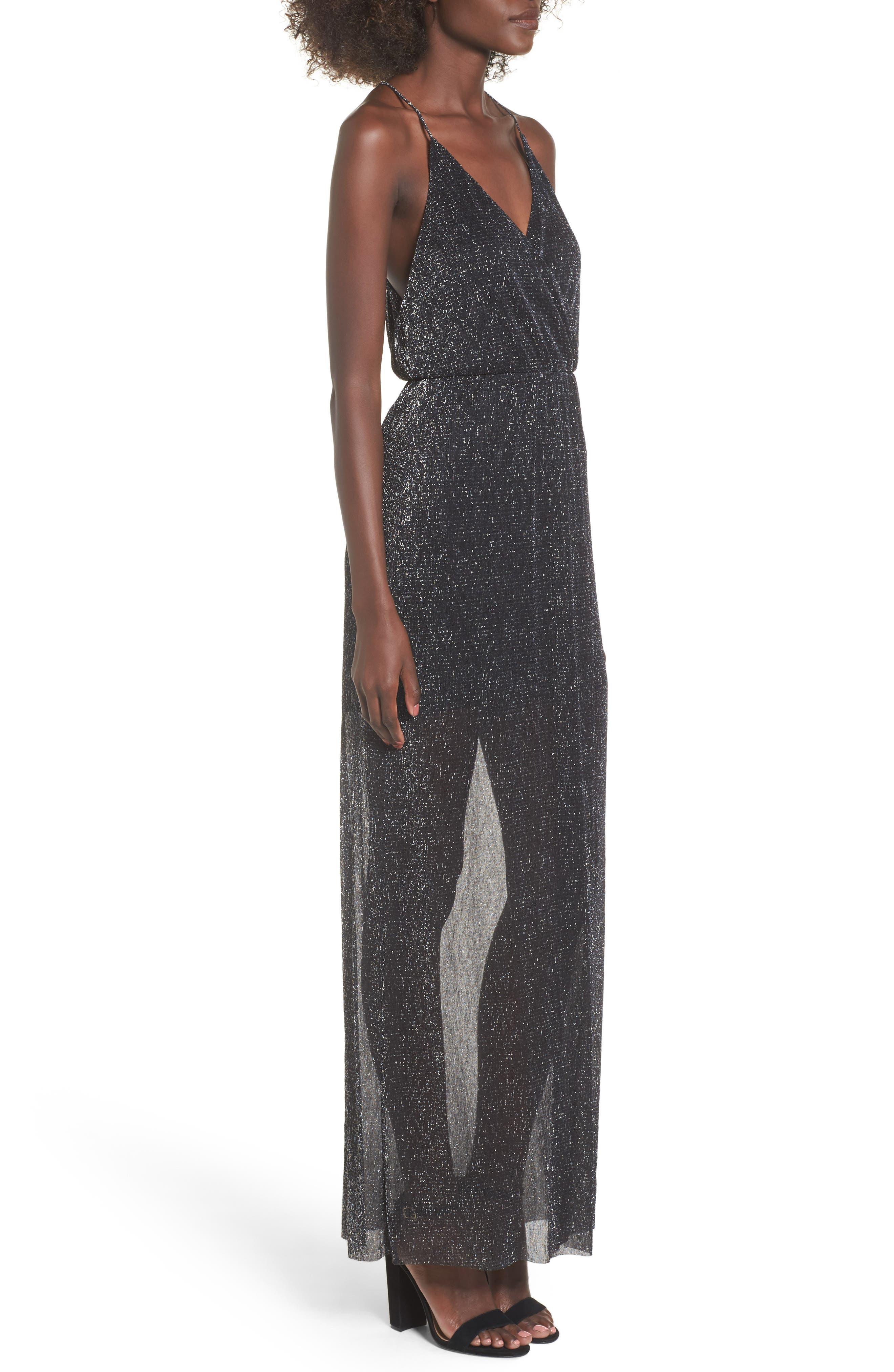 Metallic Surplice Maxi Dress,                             Alternate thumbnail 5, color,