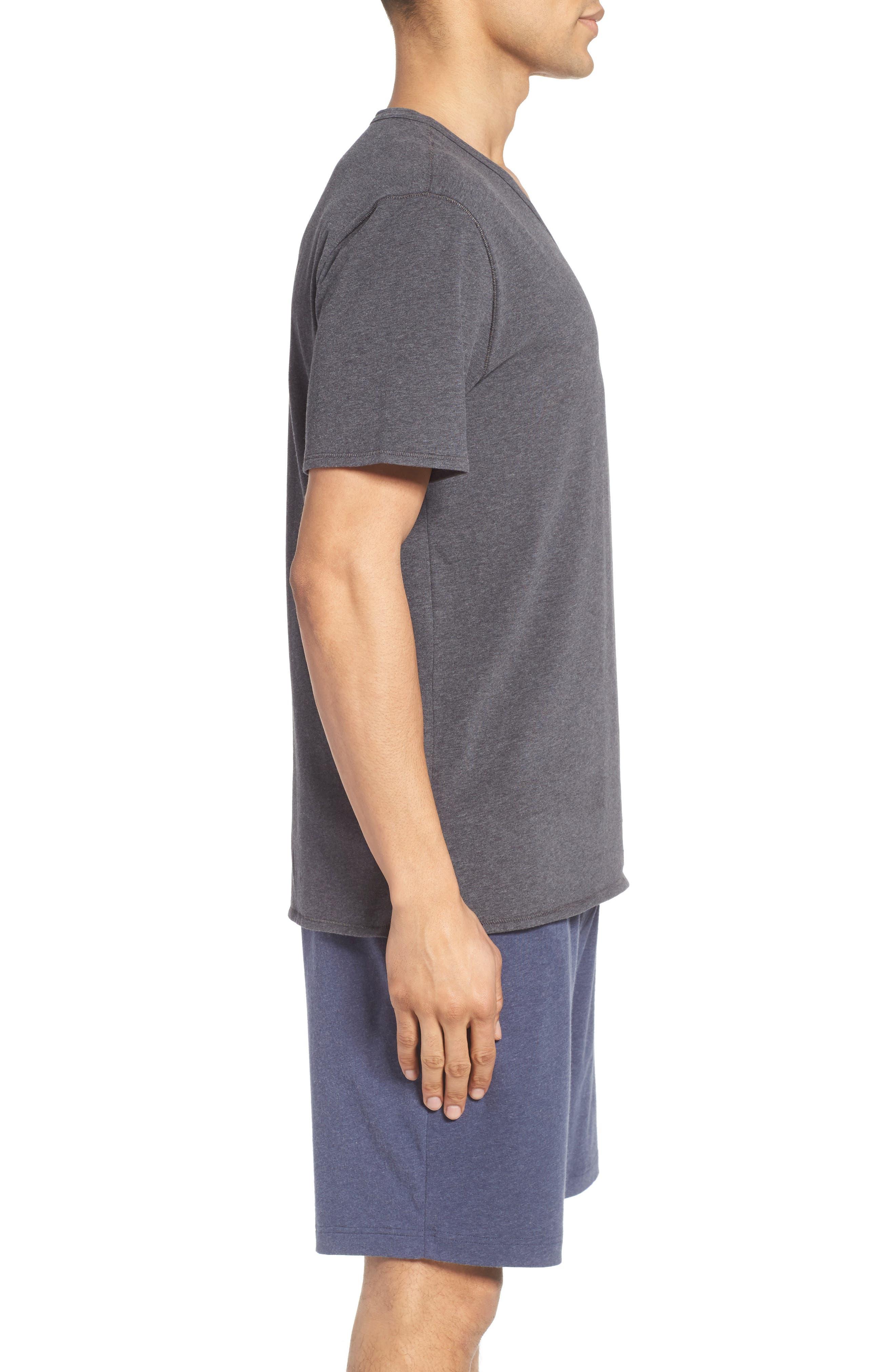 Stretch Cotton V-Neck T-Shirt,                             Alternate thumbnail 3, color,                             020
