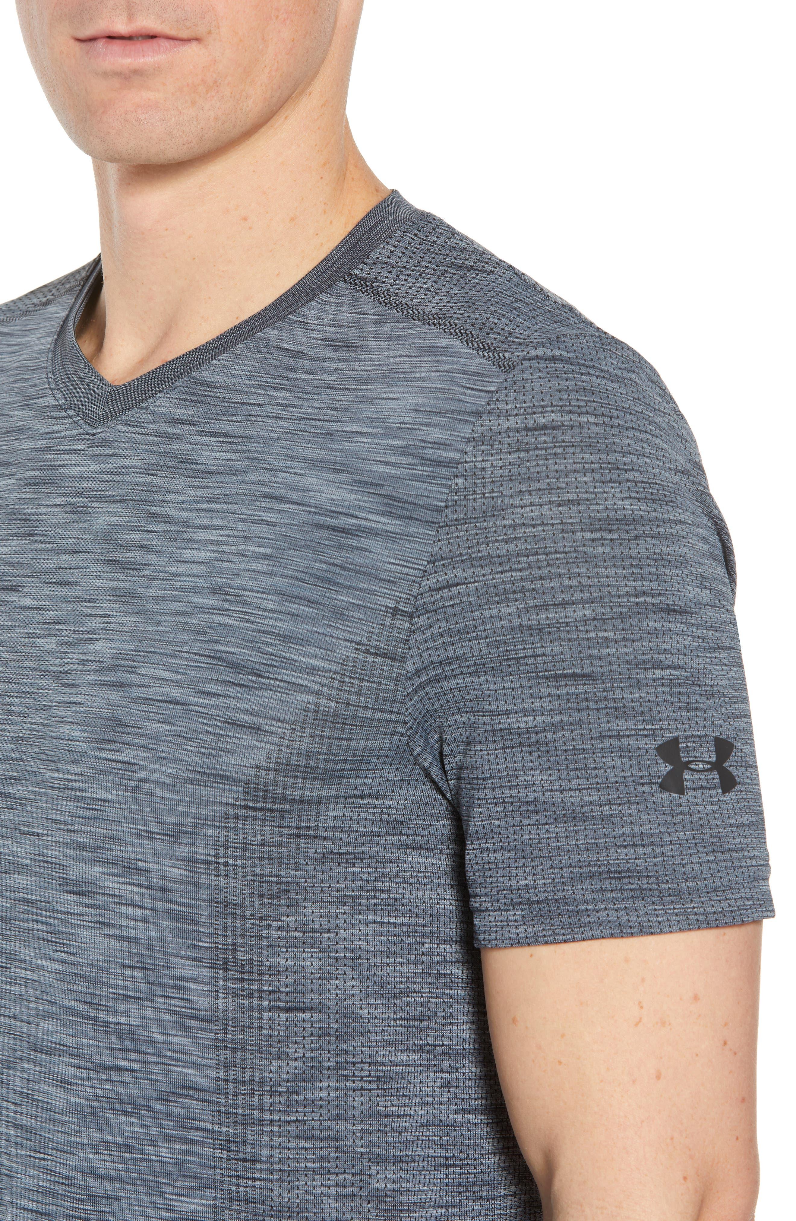 Regular Fit Threadborne T-Shirt,                             Alternate thumbnail 4, color,                             GRAPHITE/ BLACK