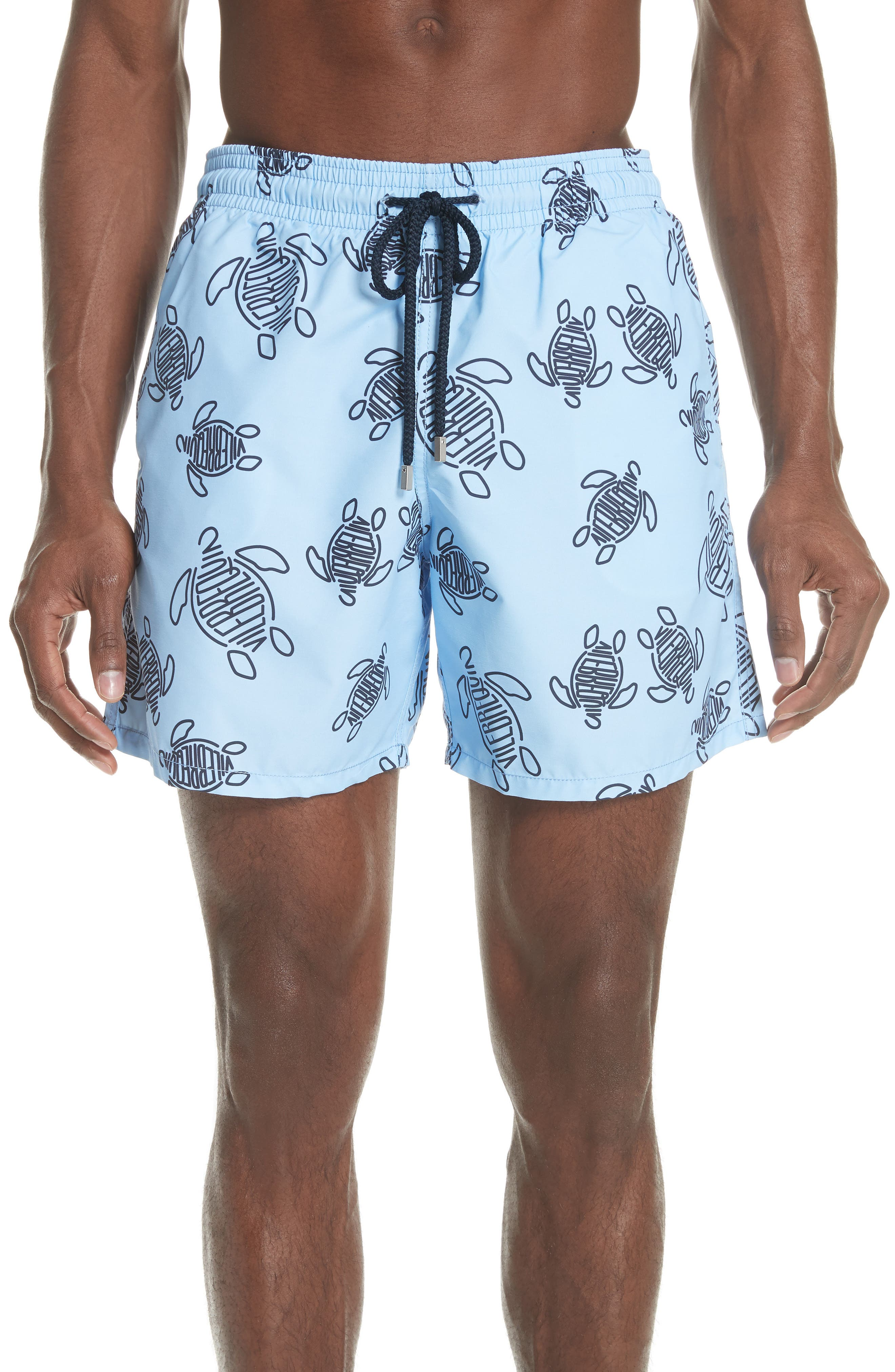 New Vilebrequin Turtle Print Swim Trunks,                         Main,                         color, 450