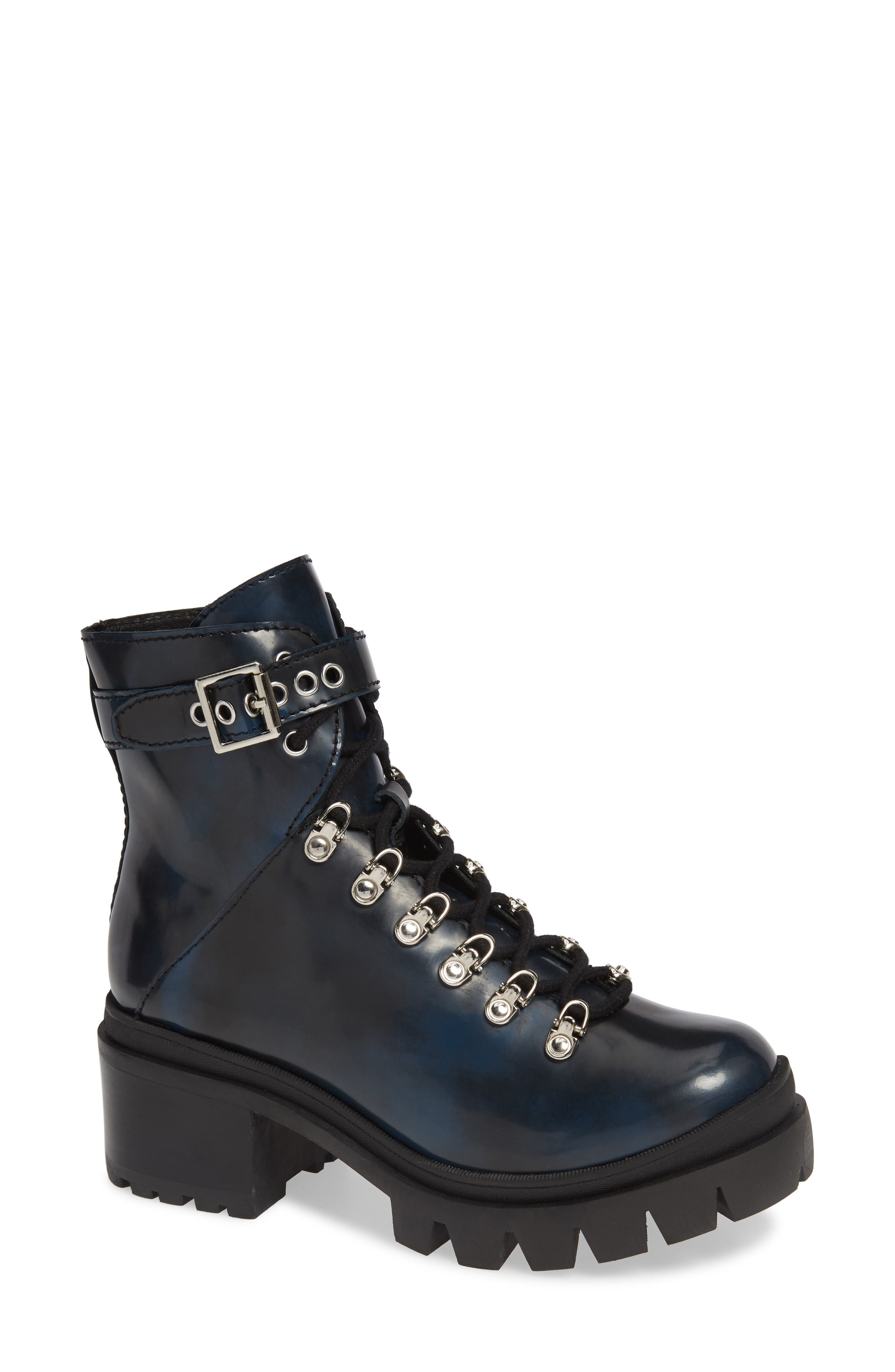 Czech Lace-Up Boot,                         Main,                         color, NAVY LEATHER