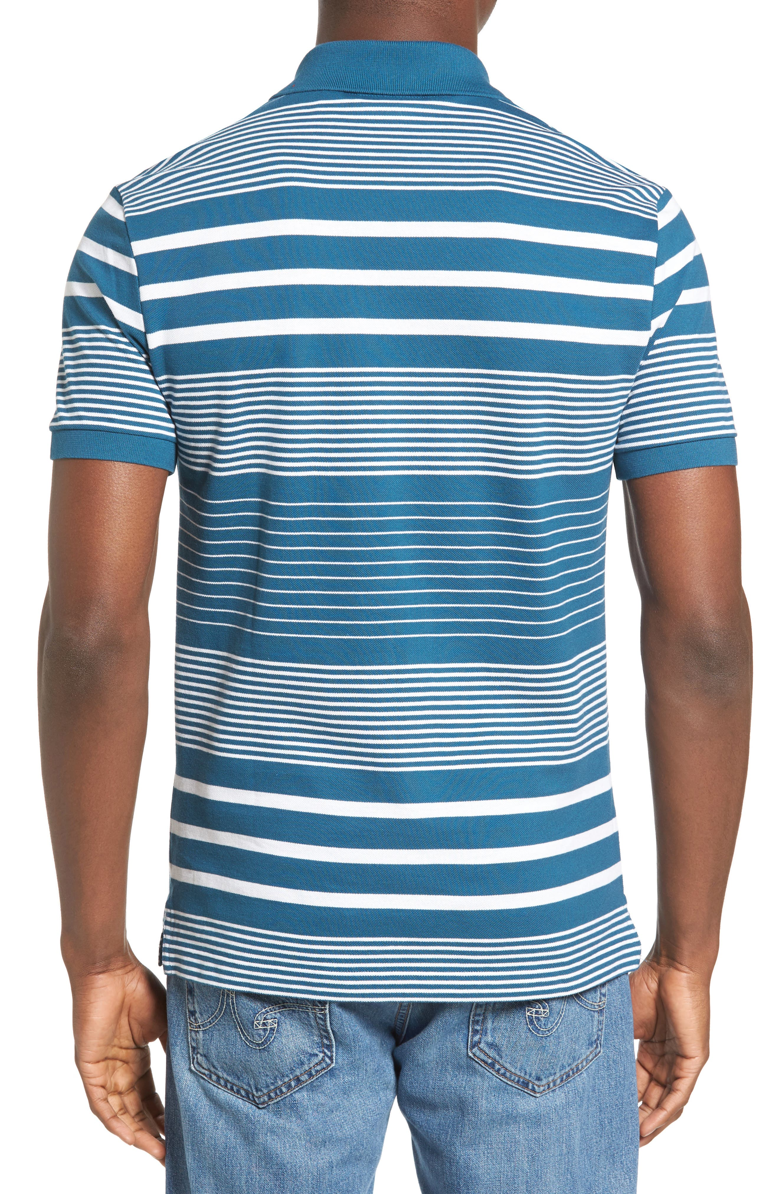 Stripe Piqué Polo,                             Alternate thumbnail 2, color,                             401