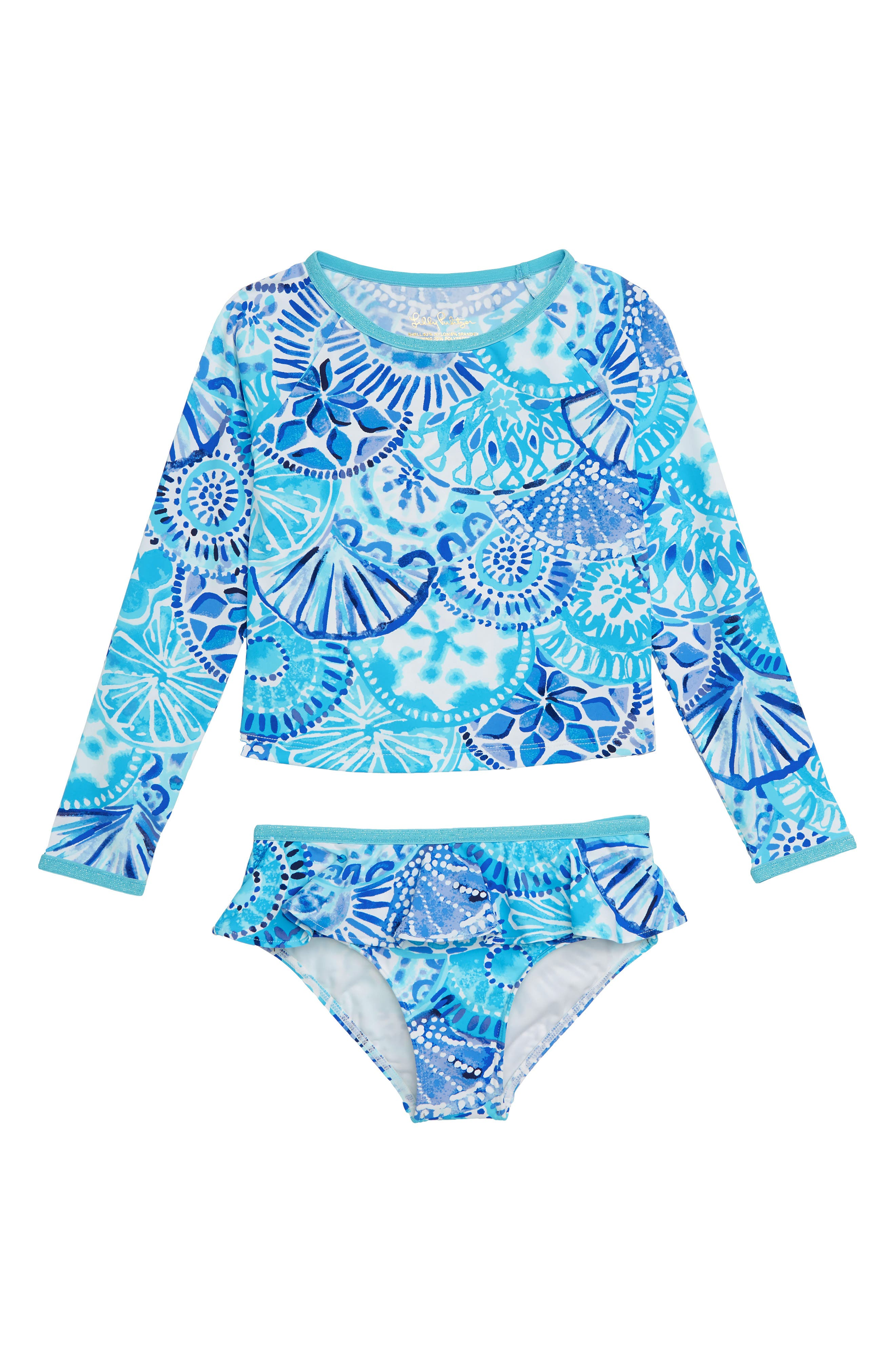 Cora Two-Piece Rashguard Swimsuit,                         Main,                         color, TURQUOISE OASIS HALF SHELL