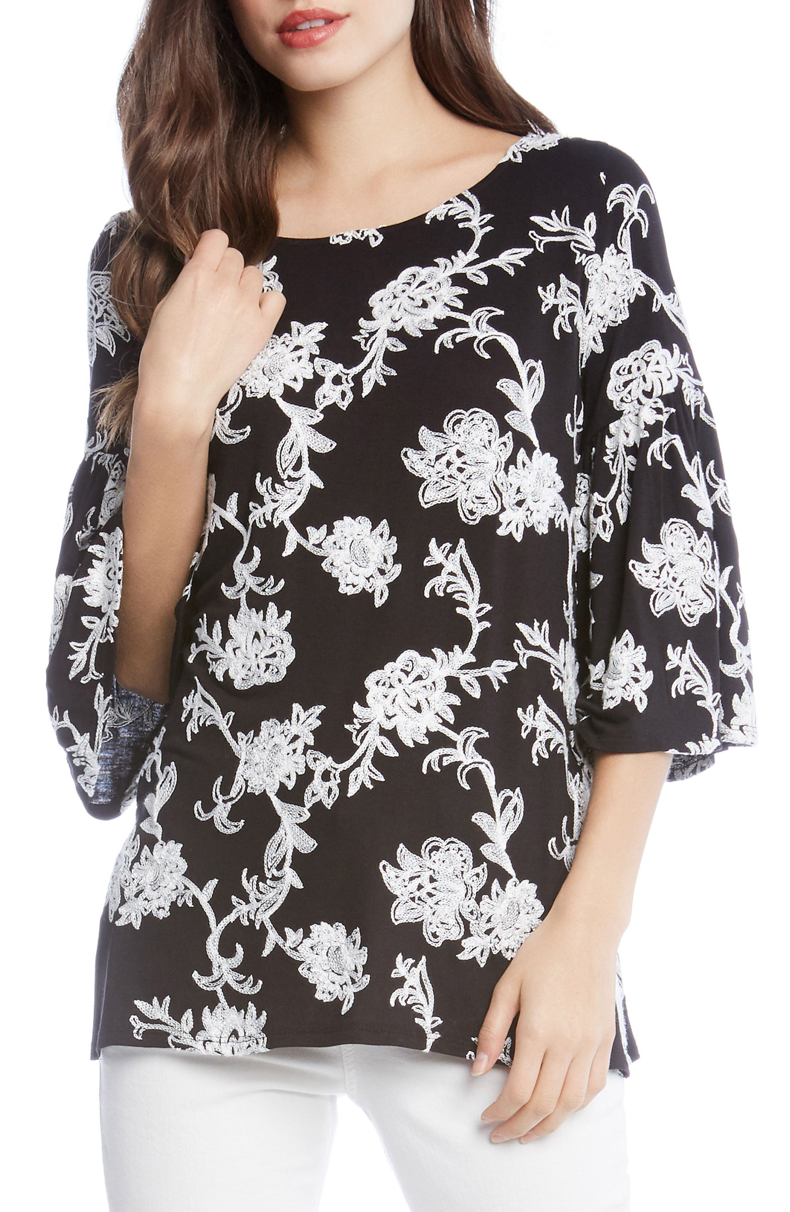 Embroidered Knit Top,                             Main thumbnail 1, color,                             001
