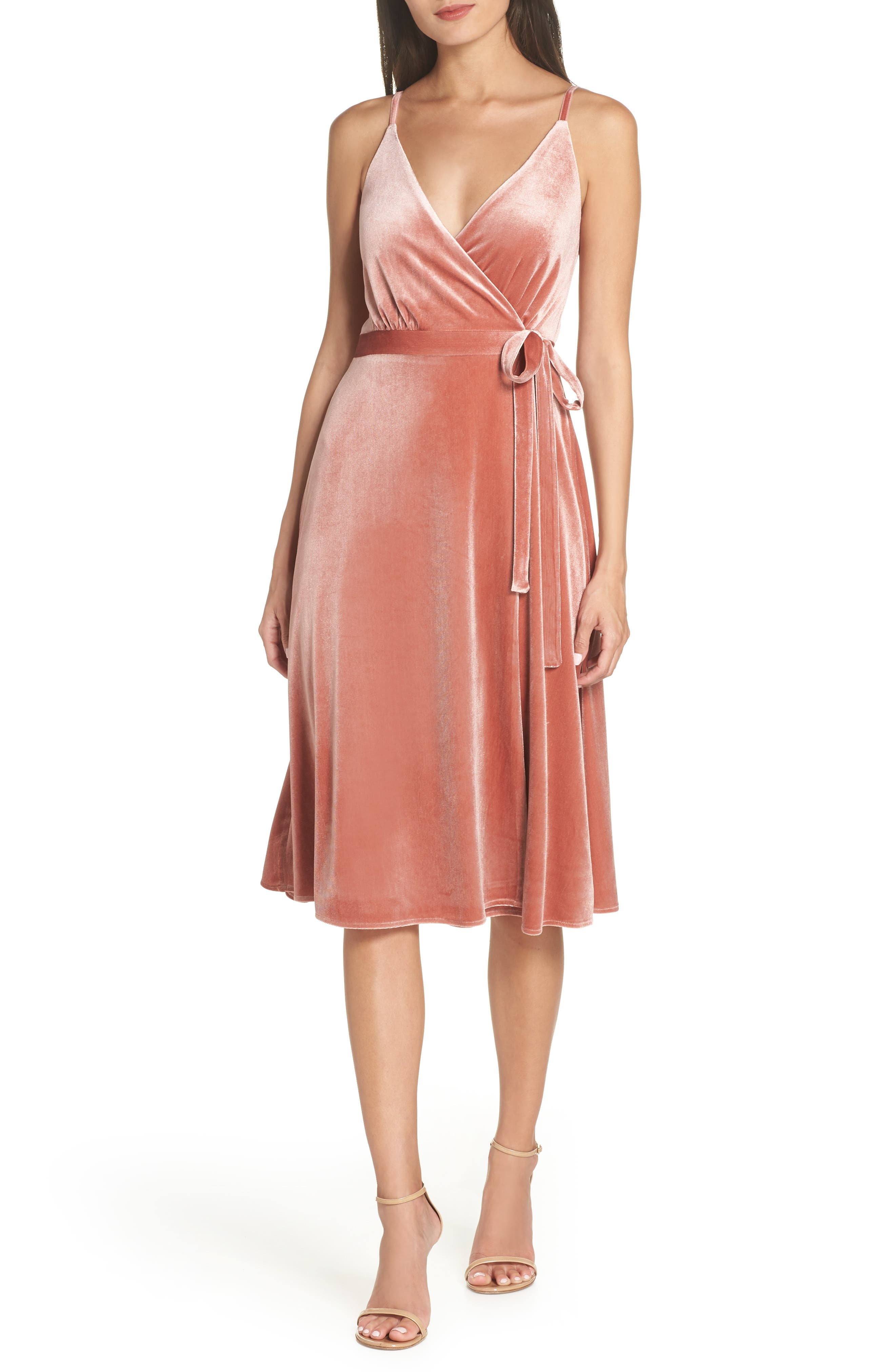 Ali & Jay Baby Love Velvet Wrap Dress, Pink