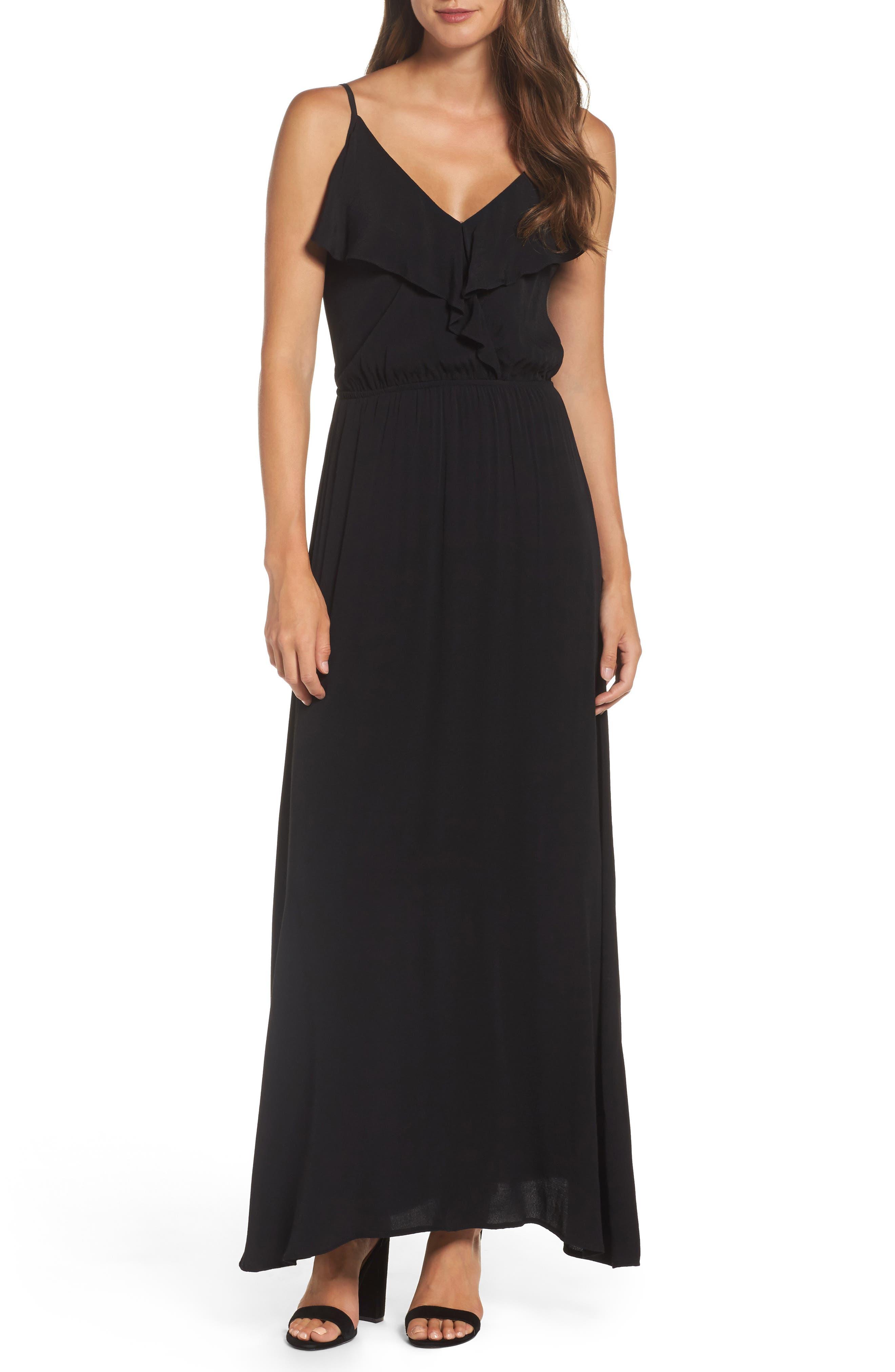 Blouson Maxi Dress,                         Main,                         color, BLACK