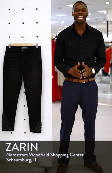 Embroidered High Rise Ankle Skimmer Jeans, sales video thumbnail