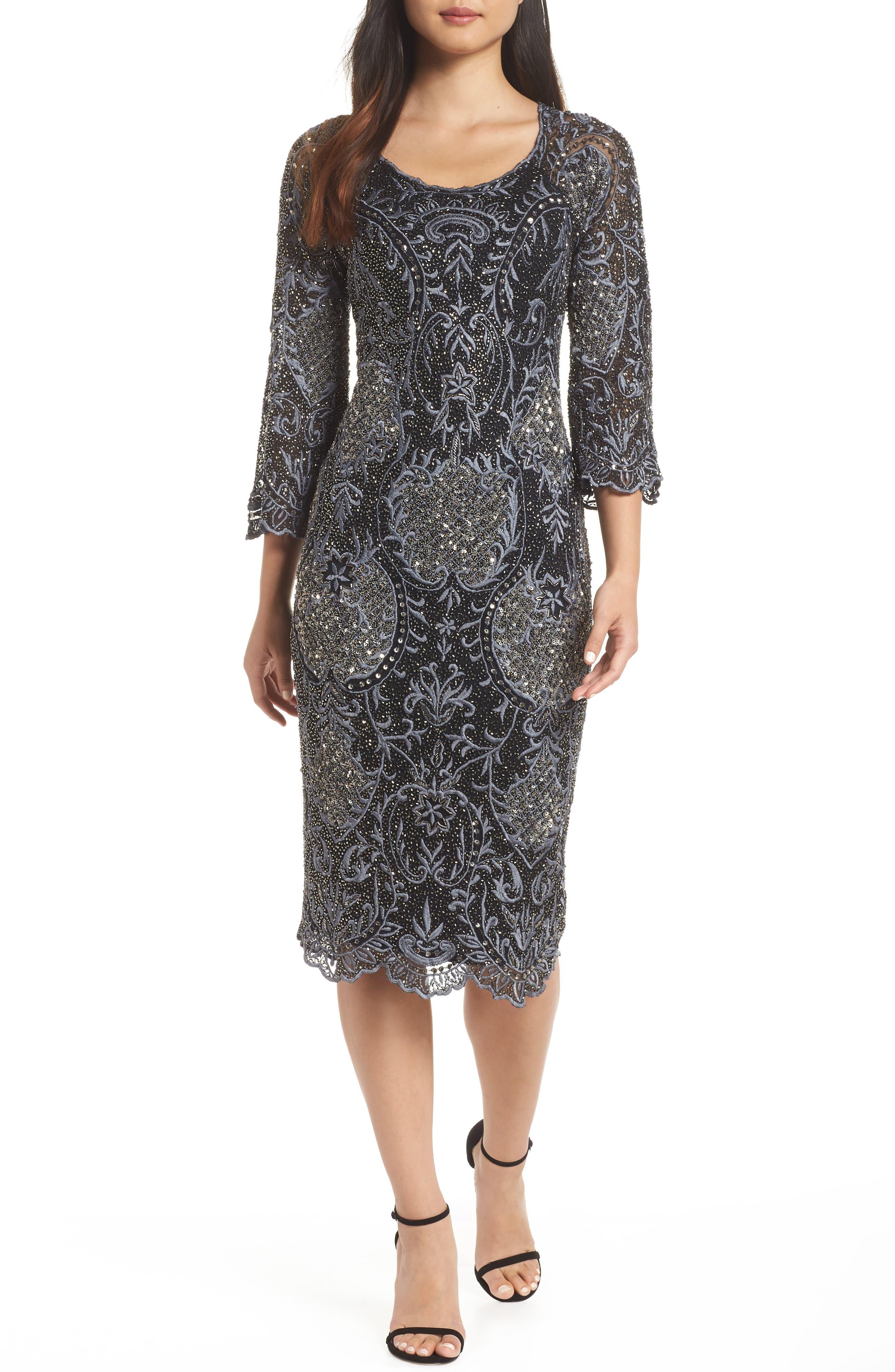 Embroidered Scallop Edge Midi Sheath Dress,                         Main,                         color, BLACK