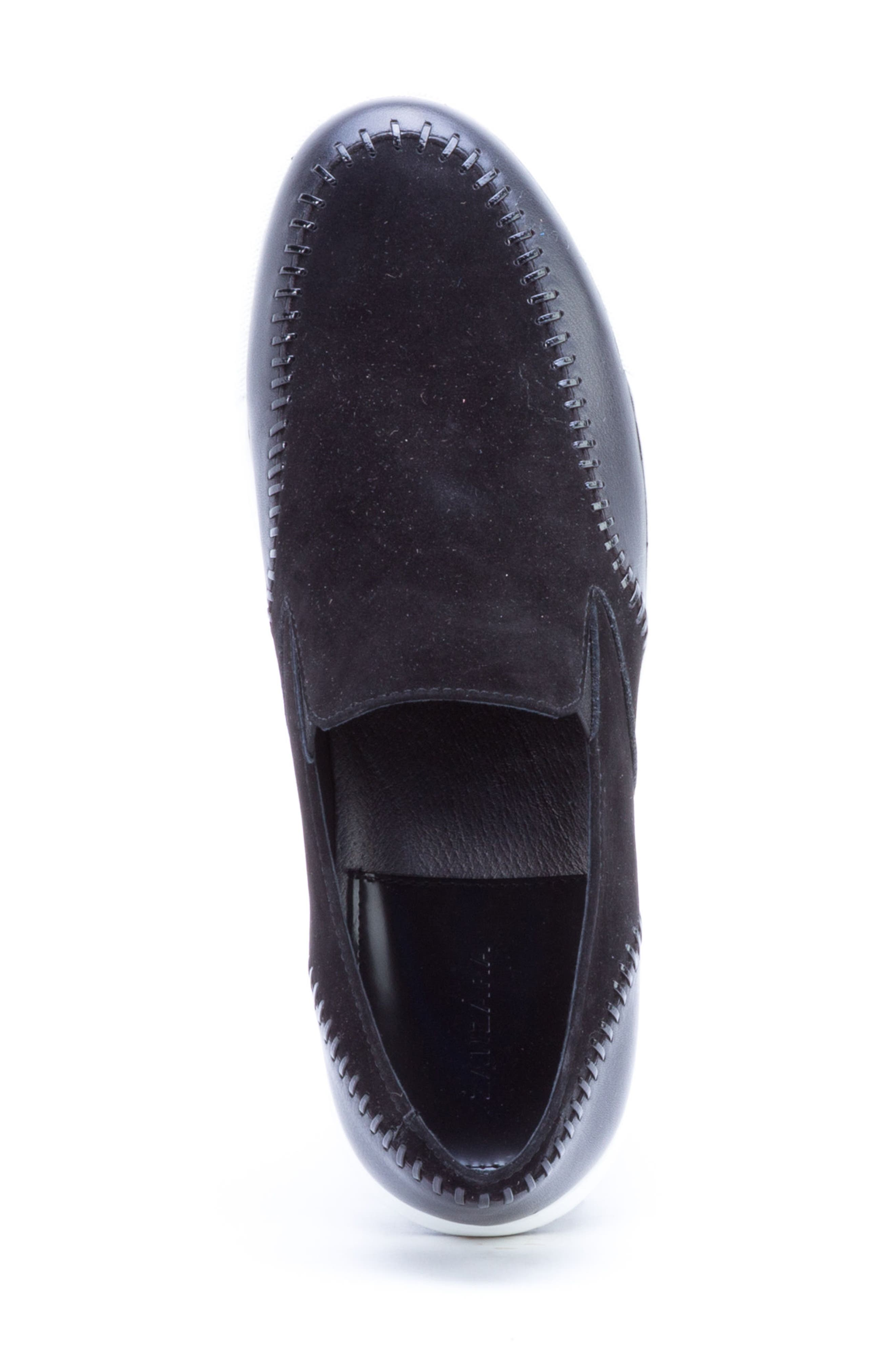 Caravaggio Whipstitched Slip-On Sneaker,                             Alternate thumbnail 5, color,                             BLACK SUEDE/ LEATHER