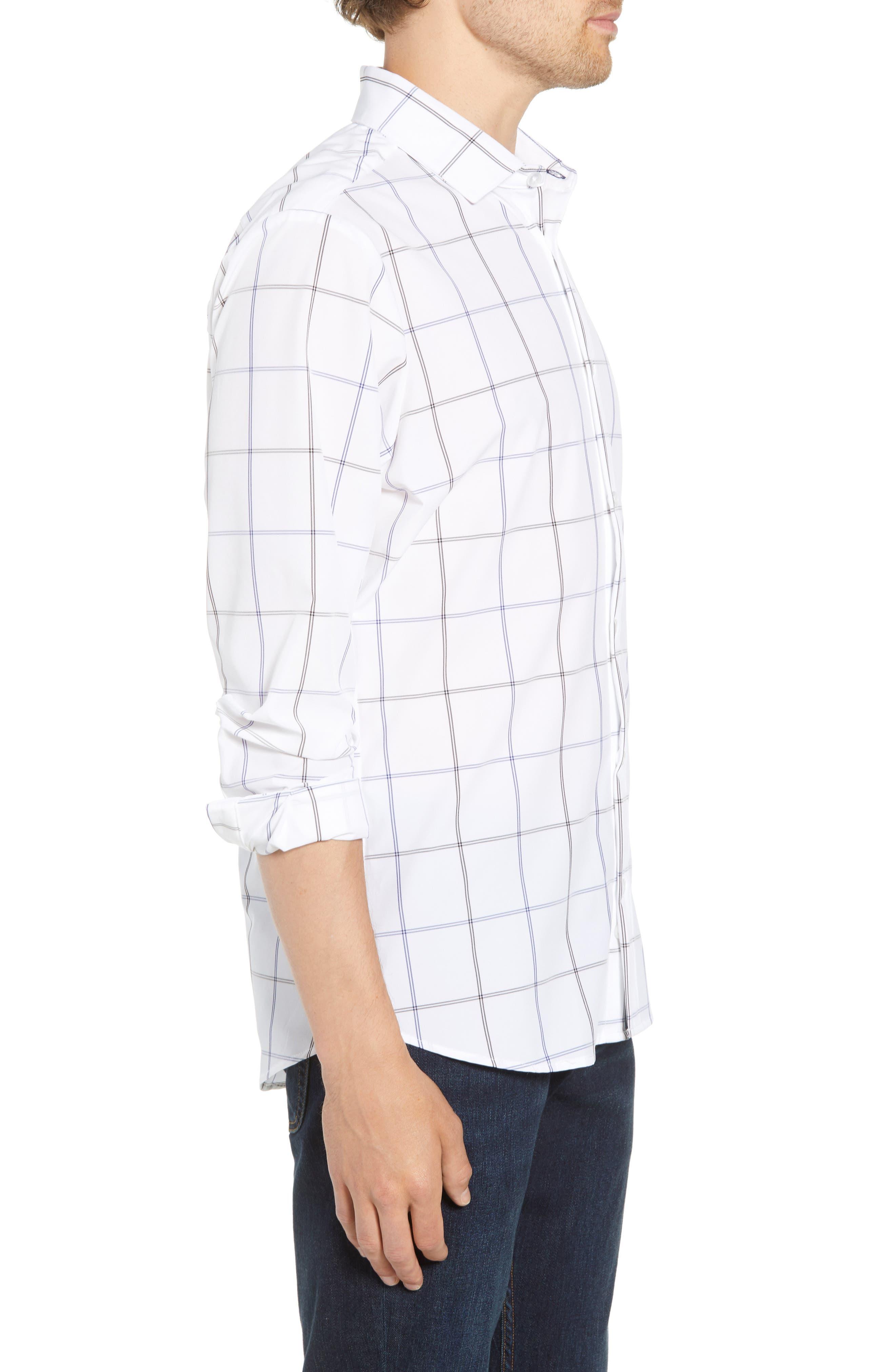 Crossman Slim Fit Grid Performance Sport Shirt,                             Alternate thumbnail 3, color,                             WHITE