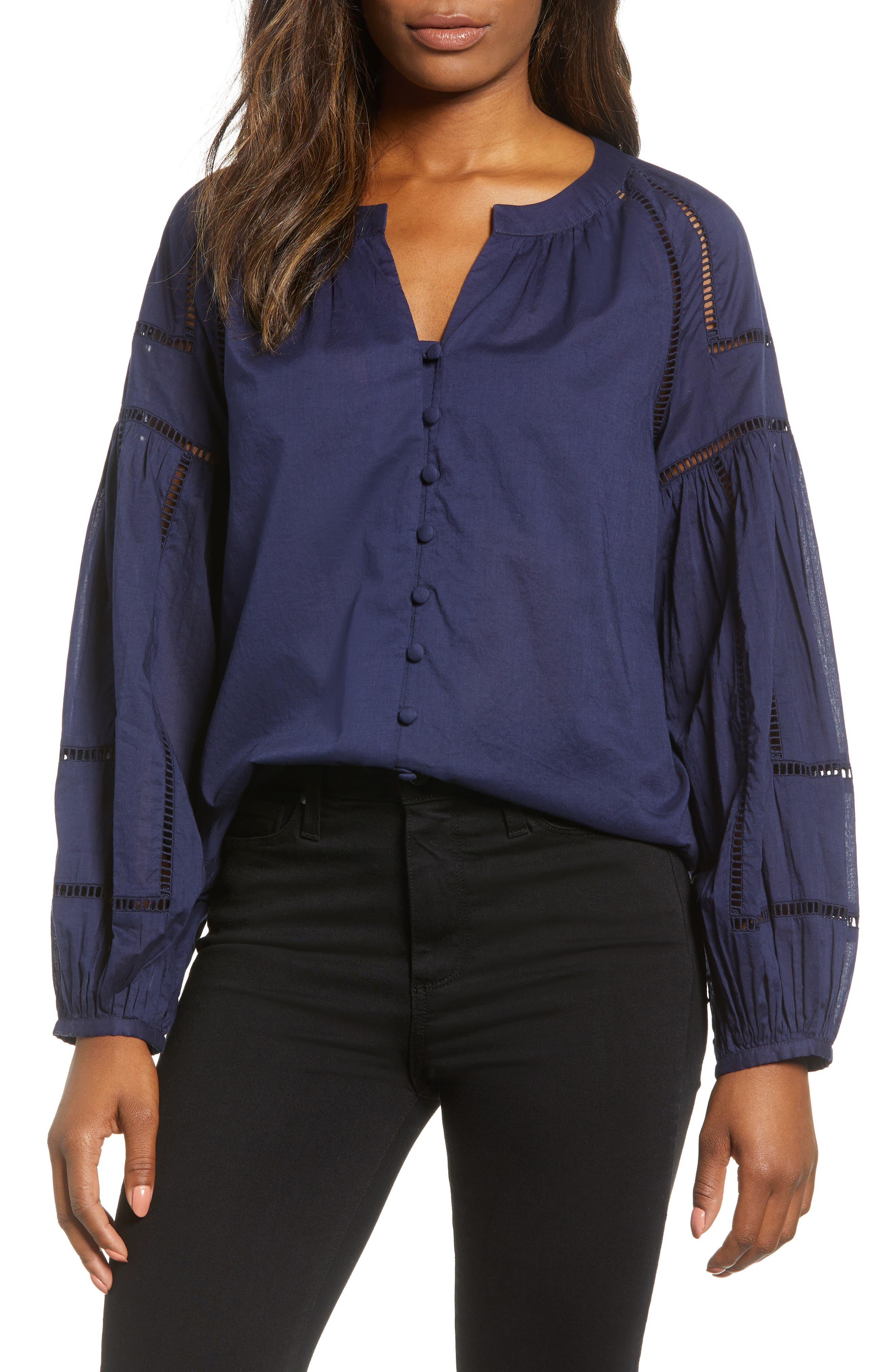 Embroidered Peasant Sleeve Top,                         Main,                         color, NAVY PEACOAT