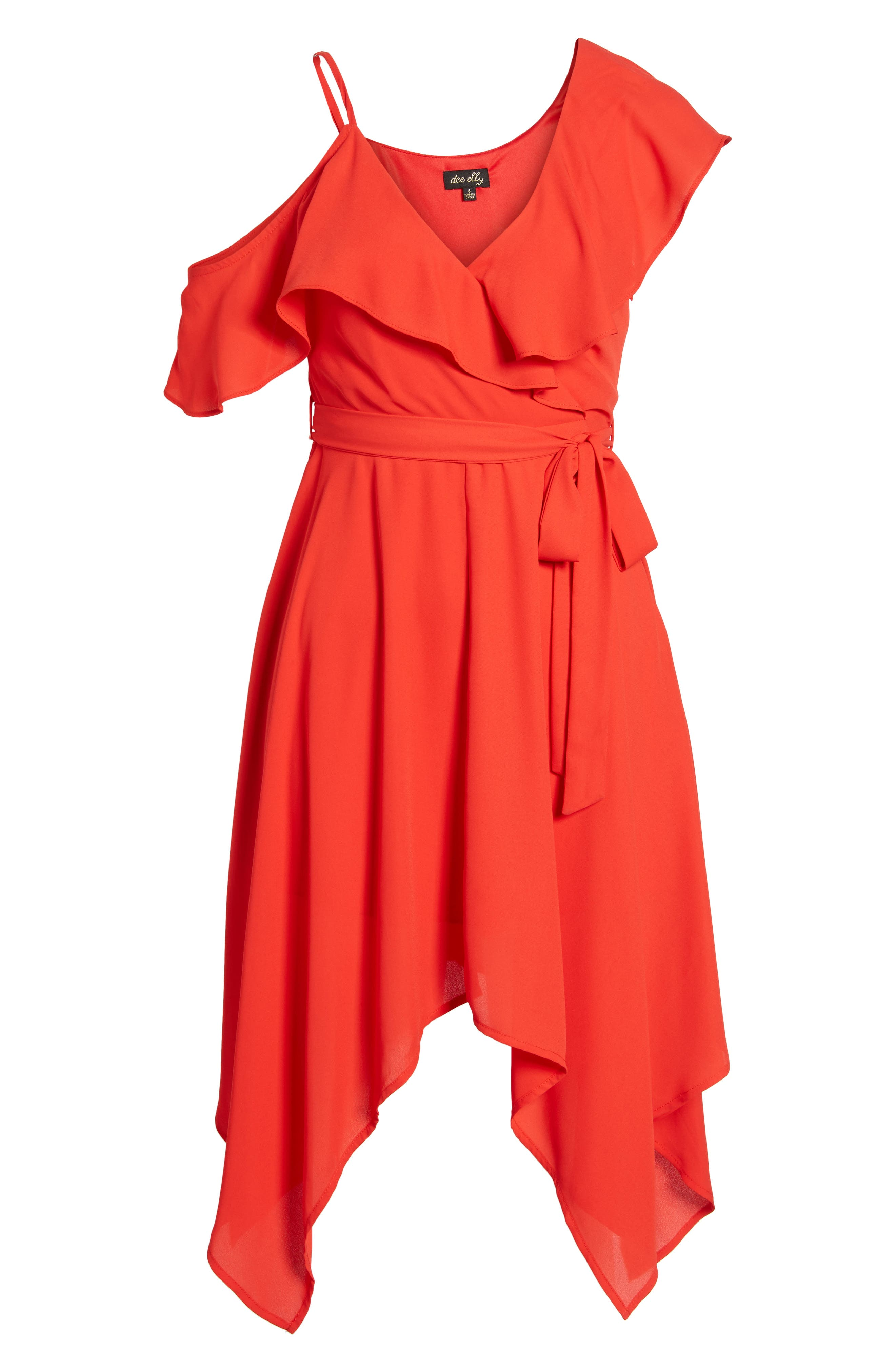 Asymmetrical Ruffle Dress,                             Alternate thumbnail 6, color,                             620