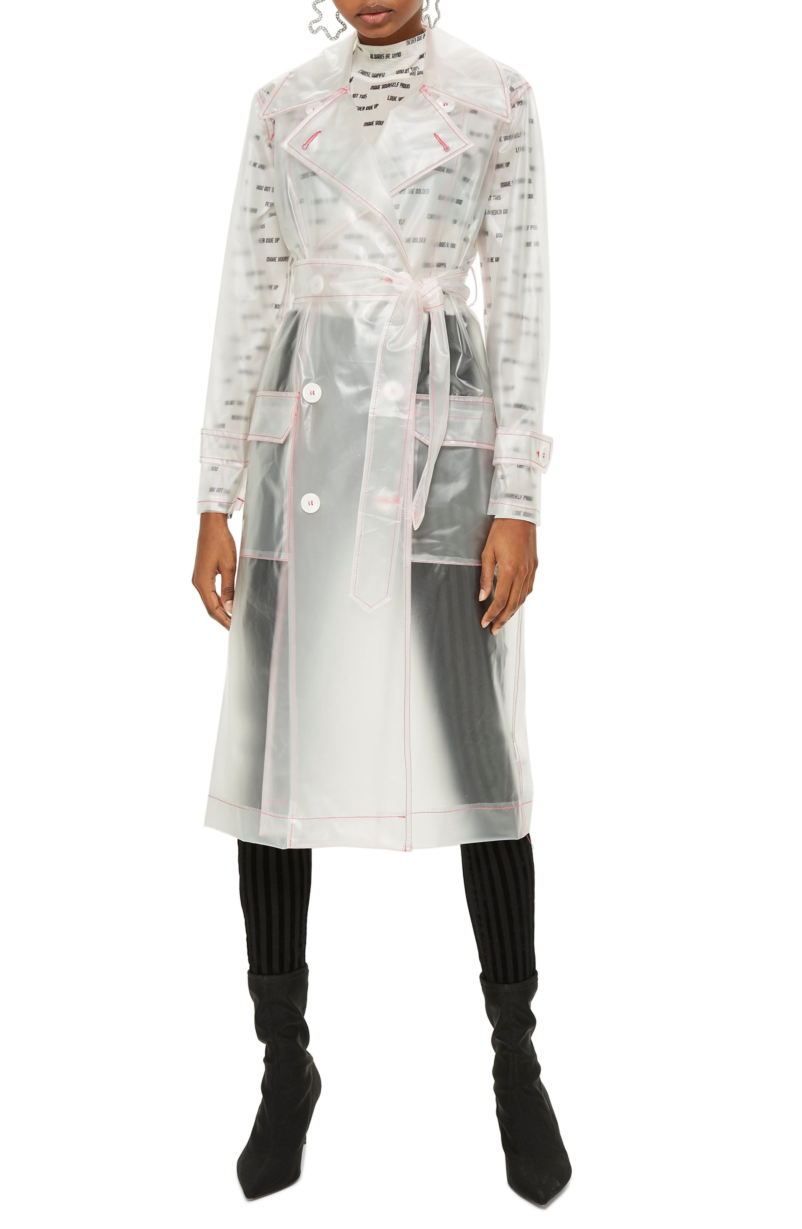 TOPSHOP,                             Frosted Vinyl Mac Trench Coat,                             Main thumbnail 1, color,                             100