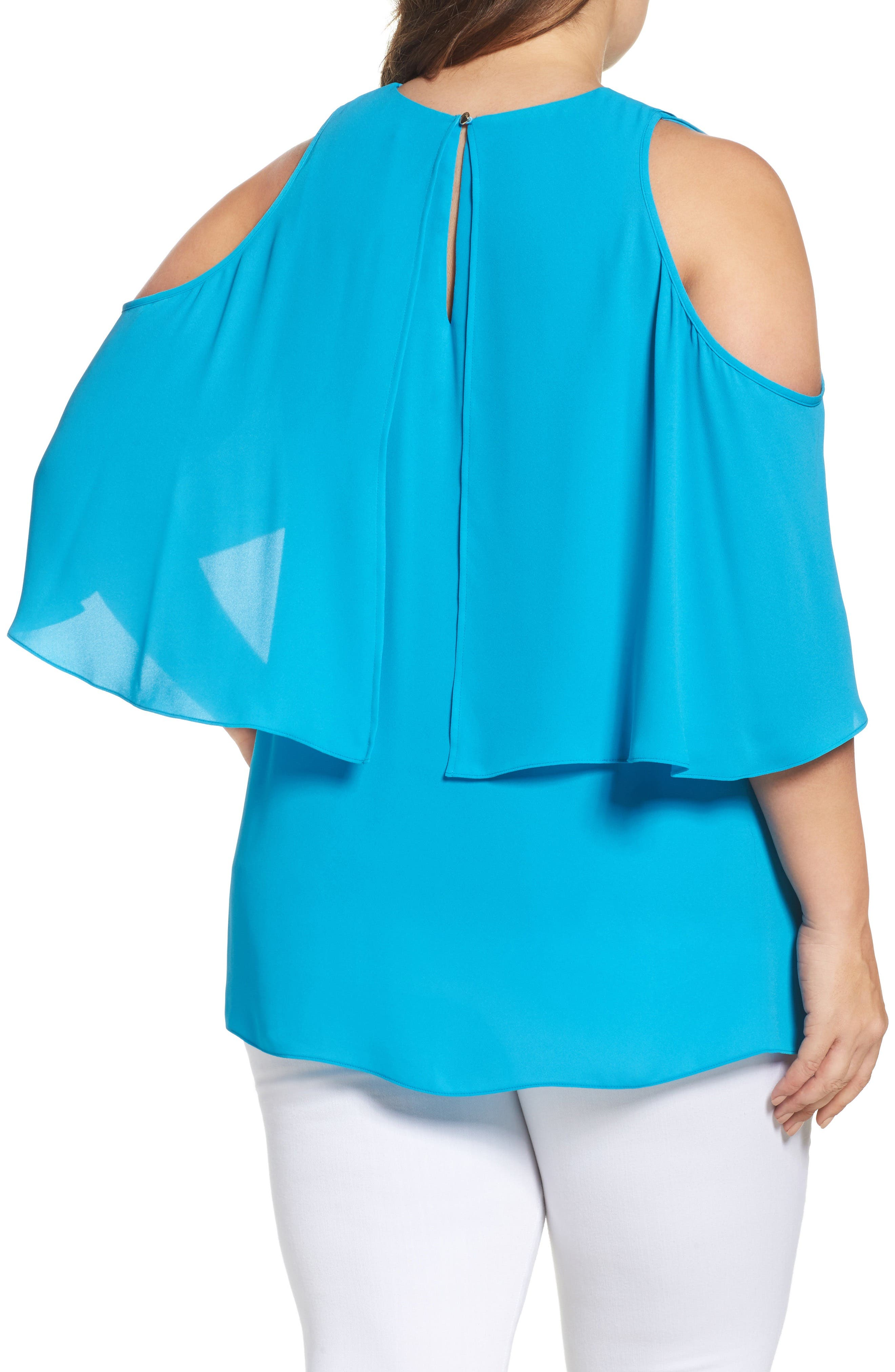 Cold Shoulder Ruffled Blouse,                             Alternate thumbnail 8, color,