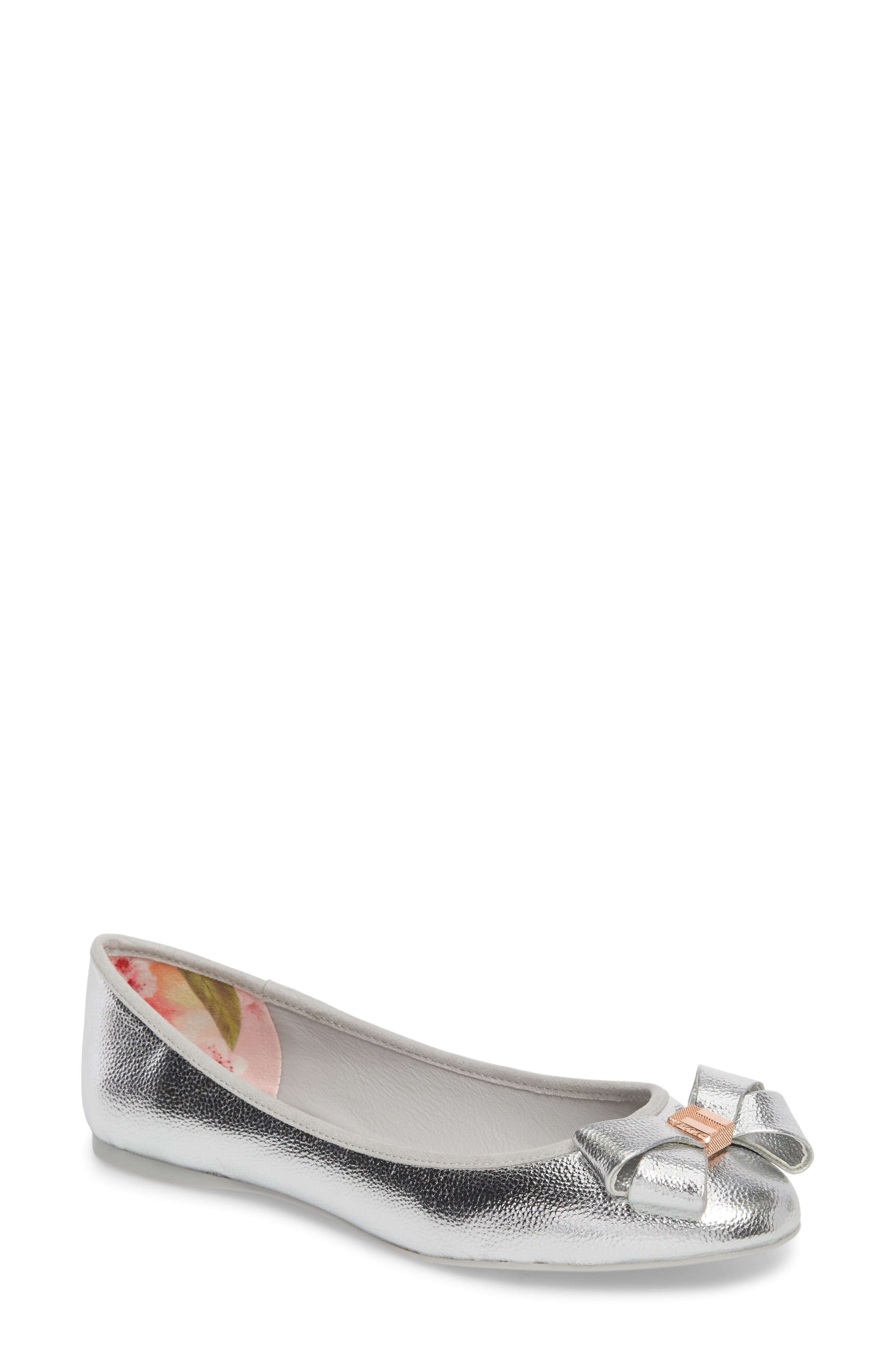 Immet Ballet Flat,                             Main thumbnail 1, color,                             SILVER