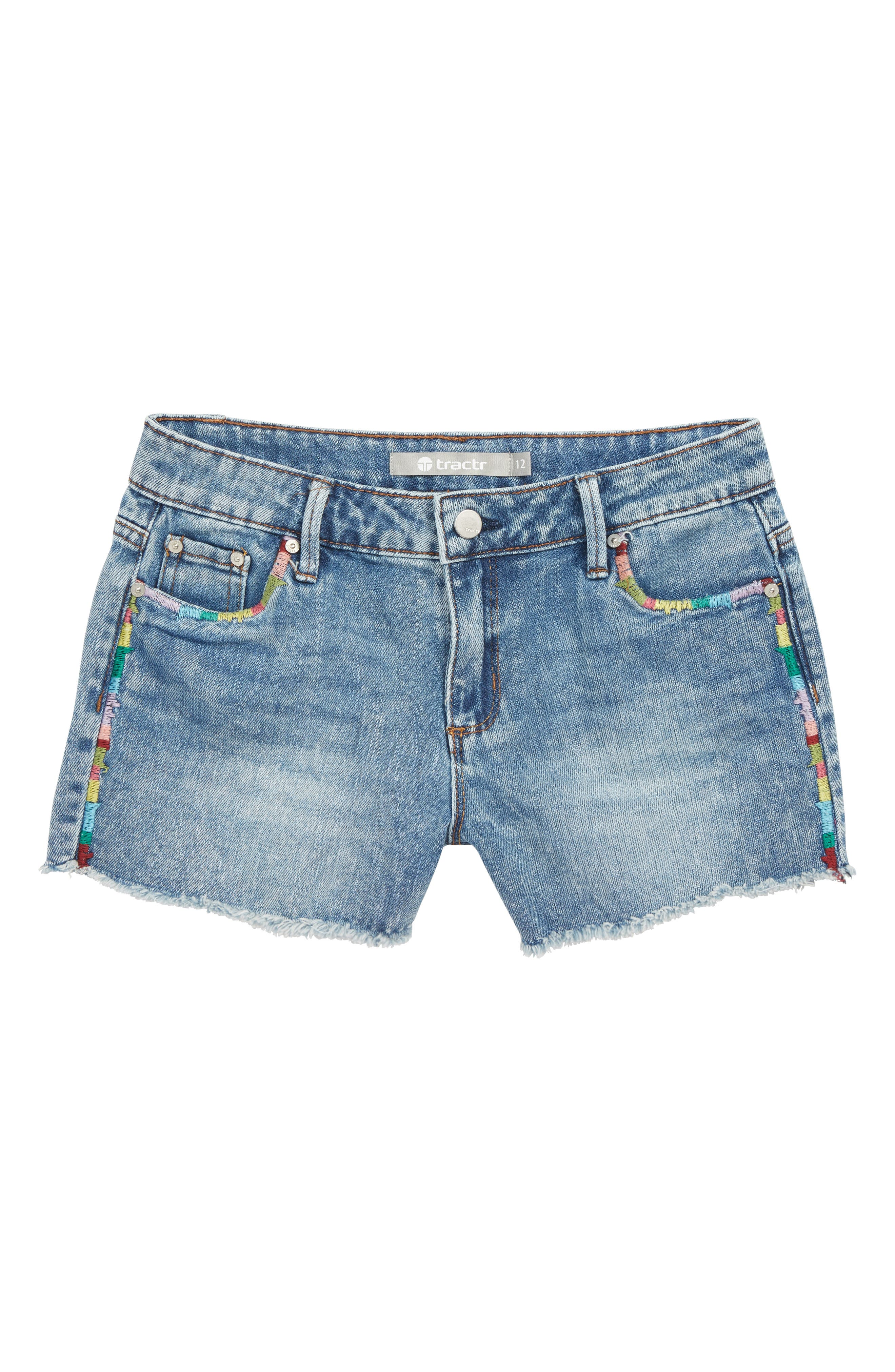 TRACTR,                             Brittany Embroidered Cutoff Denim Shorts,                             Main thumbnail 1, color,                             LIGHT INDIGO