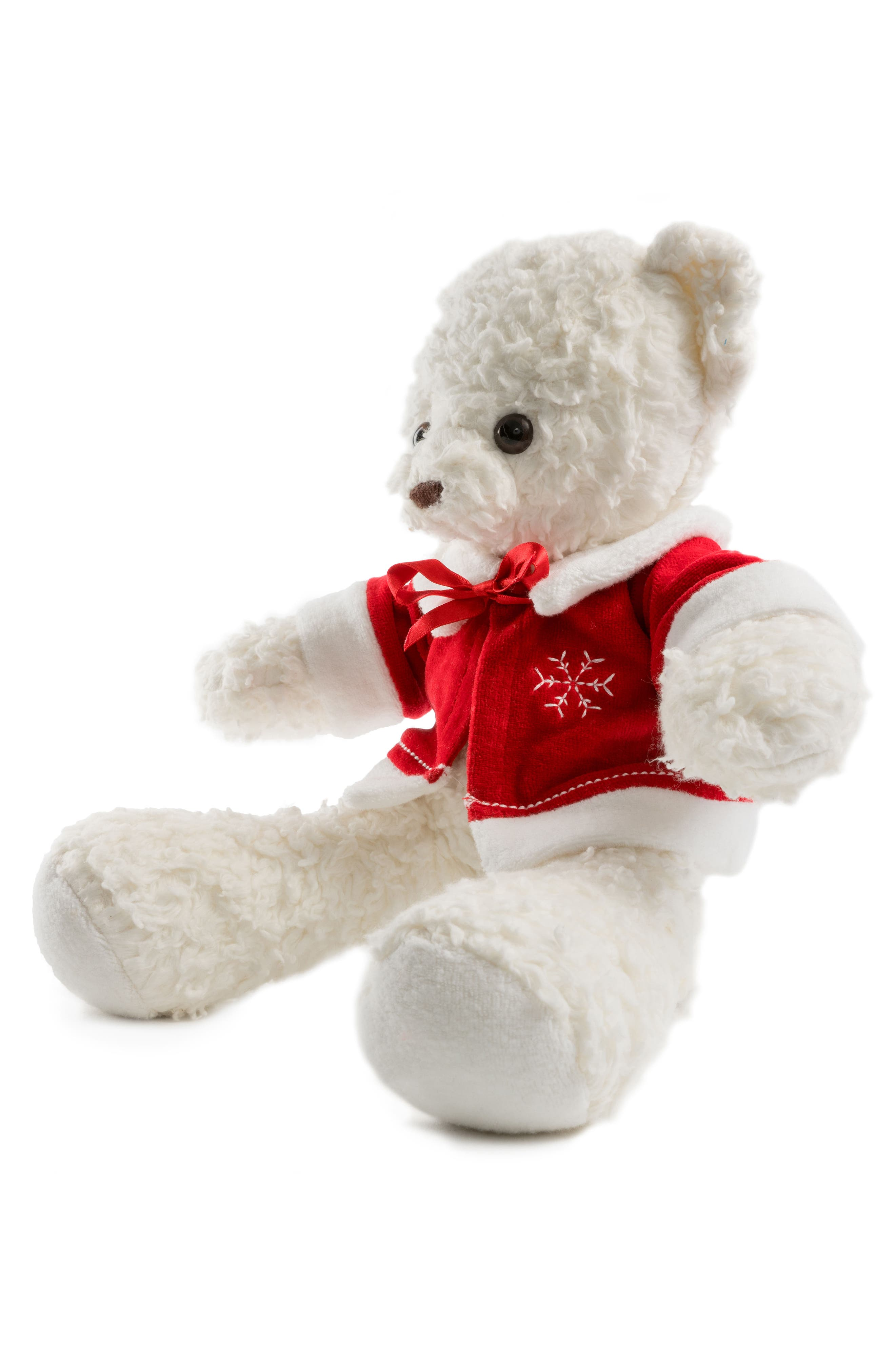 Medium Stuffed Bear with Holiday Jacket,                             Alternate thumbnail 3, color,                             100