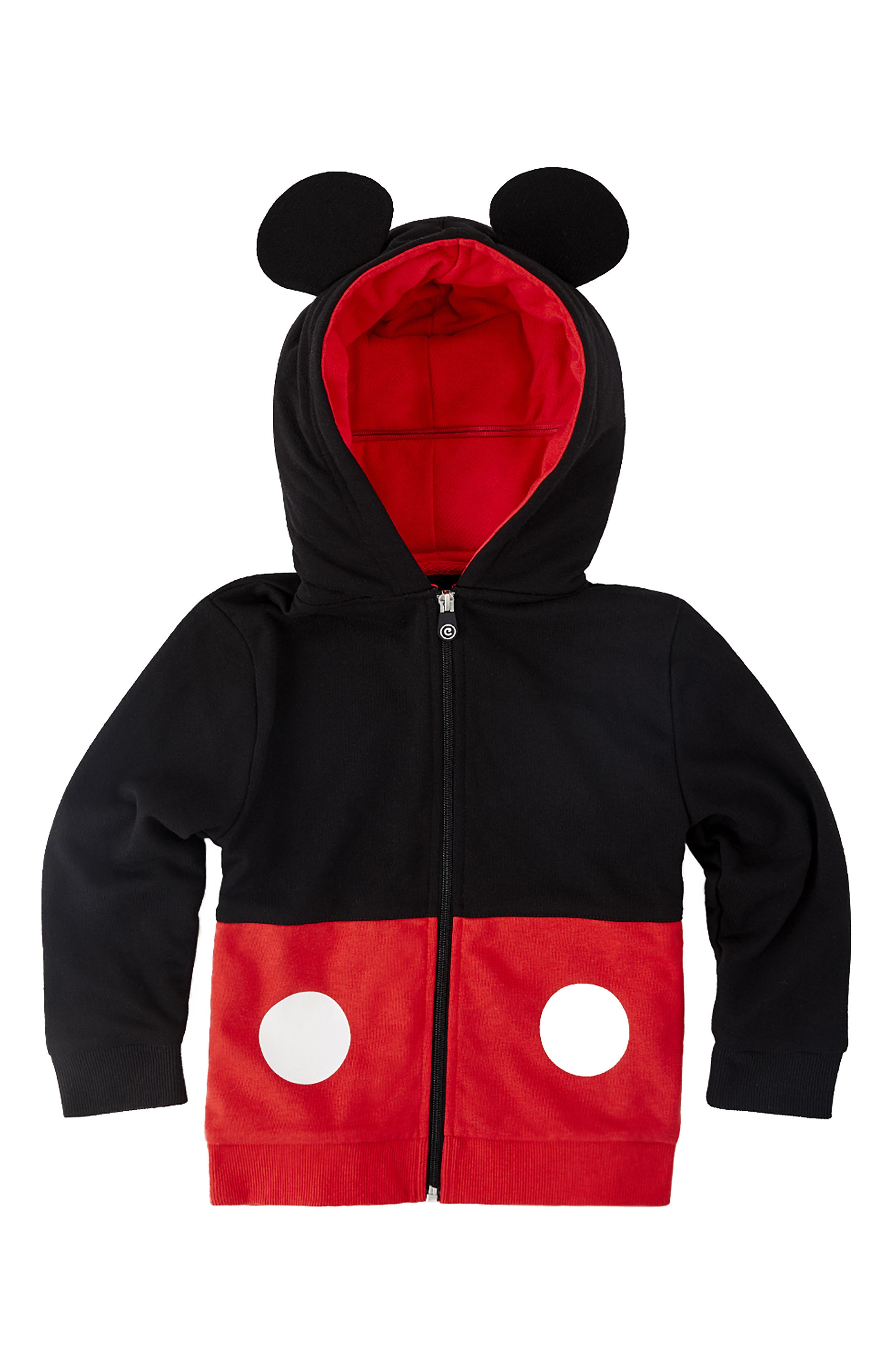 Mickey Mouse<sup>®</sup> 2-in-1 Stuffed Animal Hoodie,                             Alternate thumbnail 7, color,                             BLACK / RED MIX