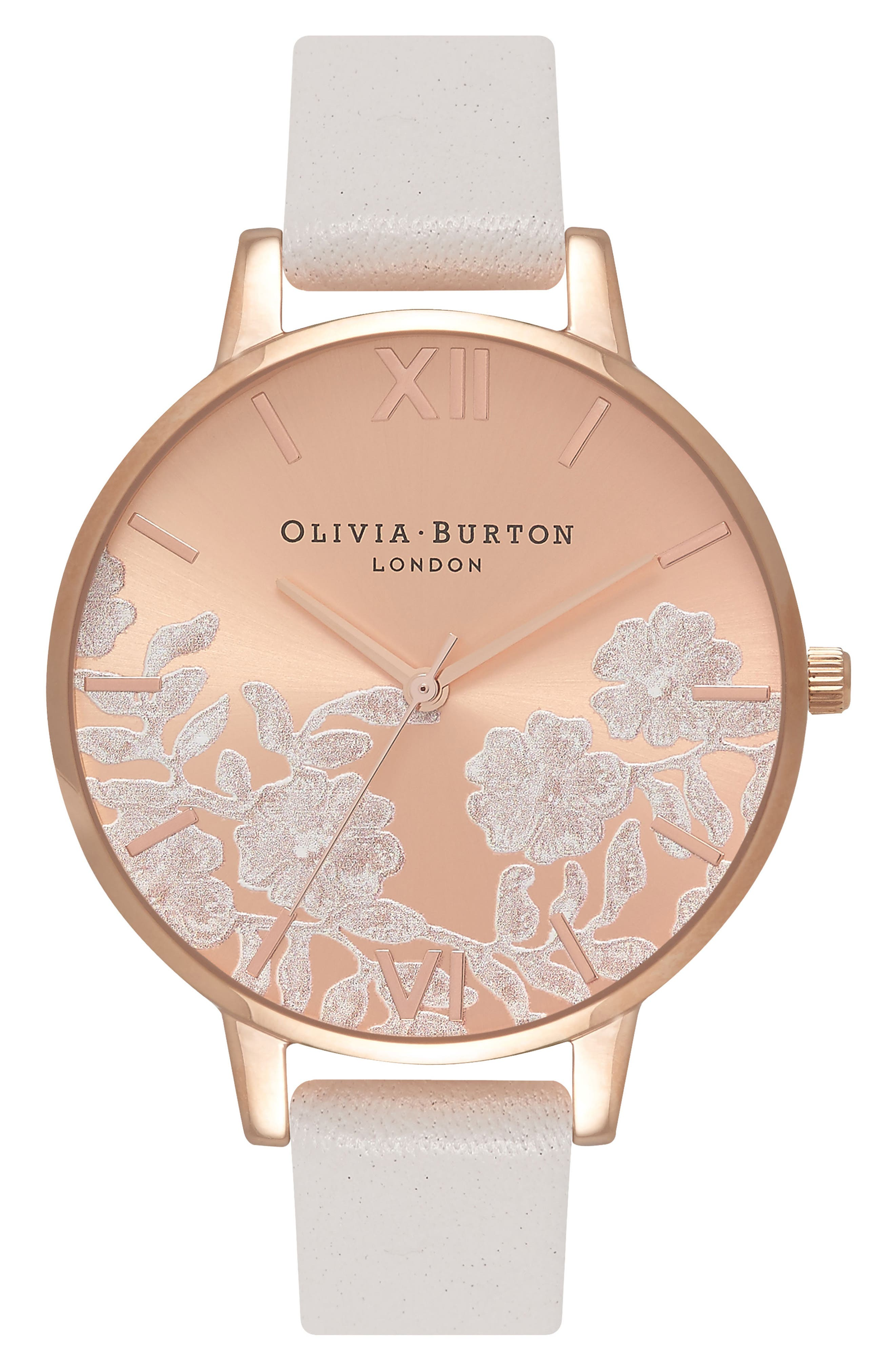 OLIVIA BURTON,                             Lace Detail Leather Strap Watch, 38mm,                             Main thumbnail 1, color,                             BLUSH/ ROSE GOLD