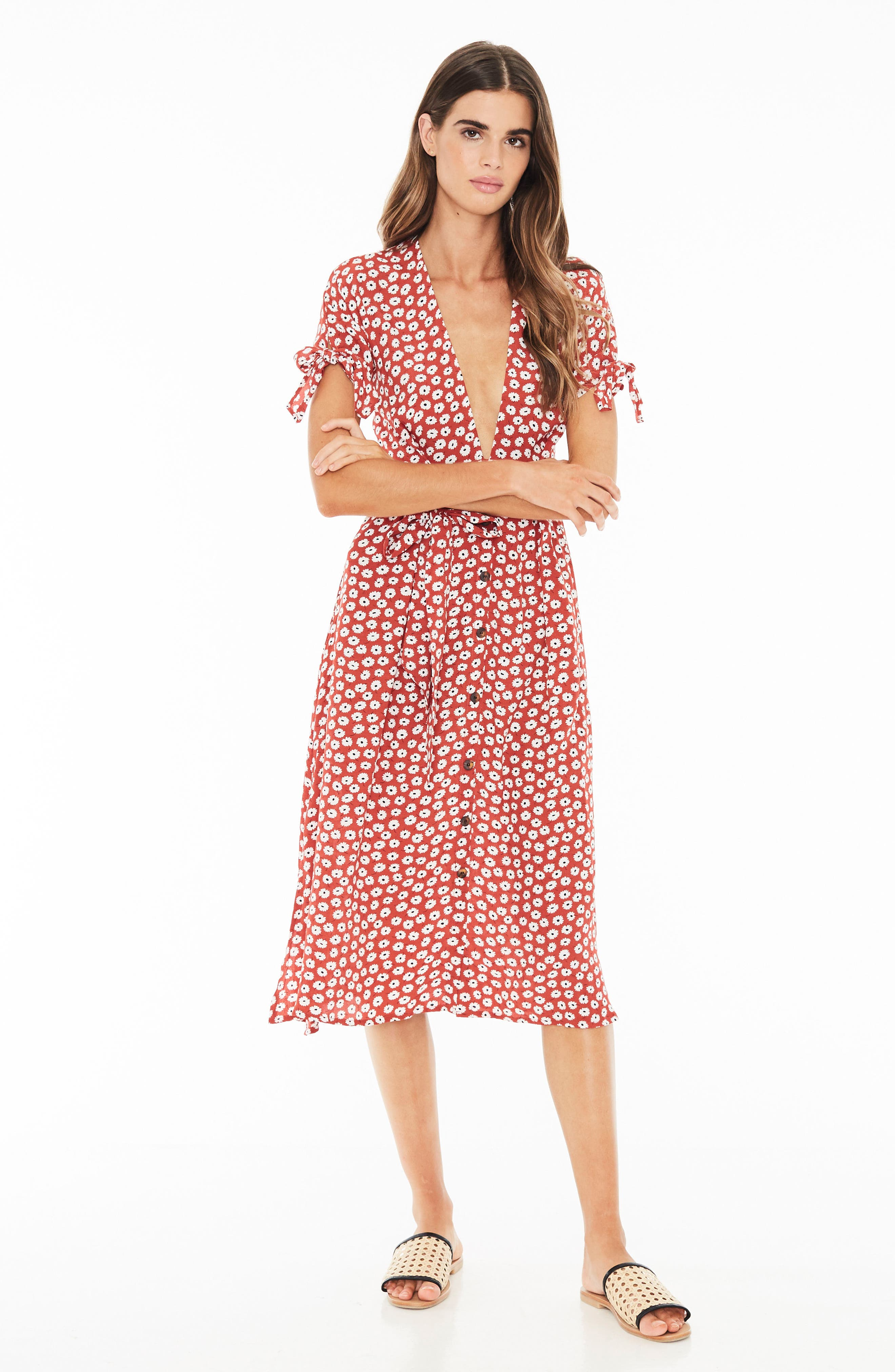 Nina Tie Cuff Midi Dress,                             Alternate thumbnail 4, color,                             601