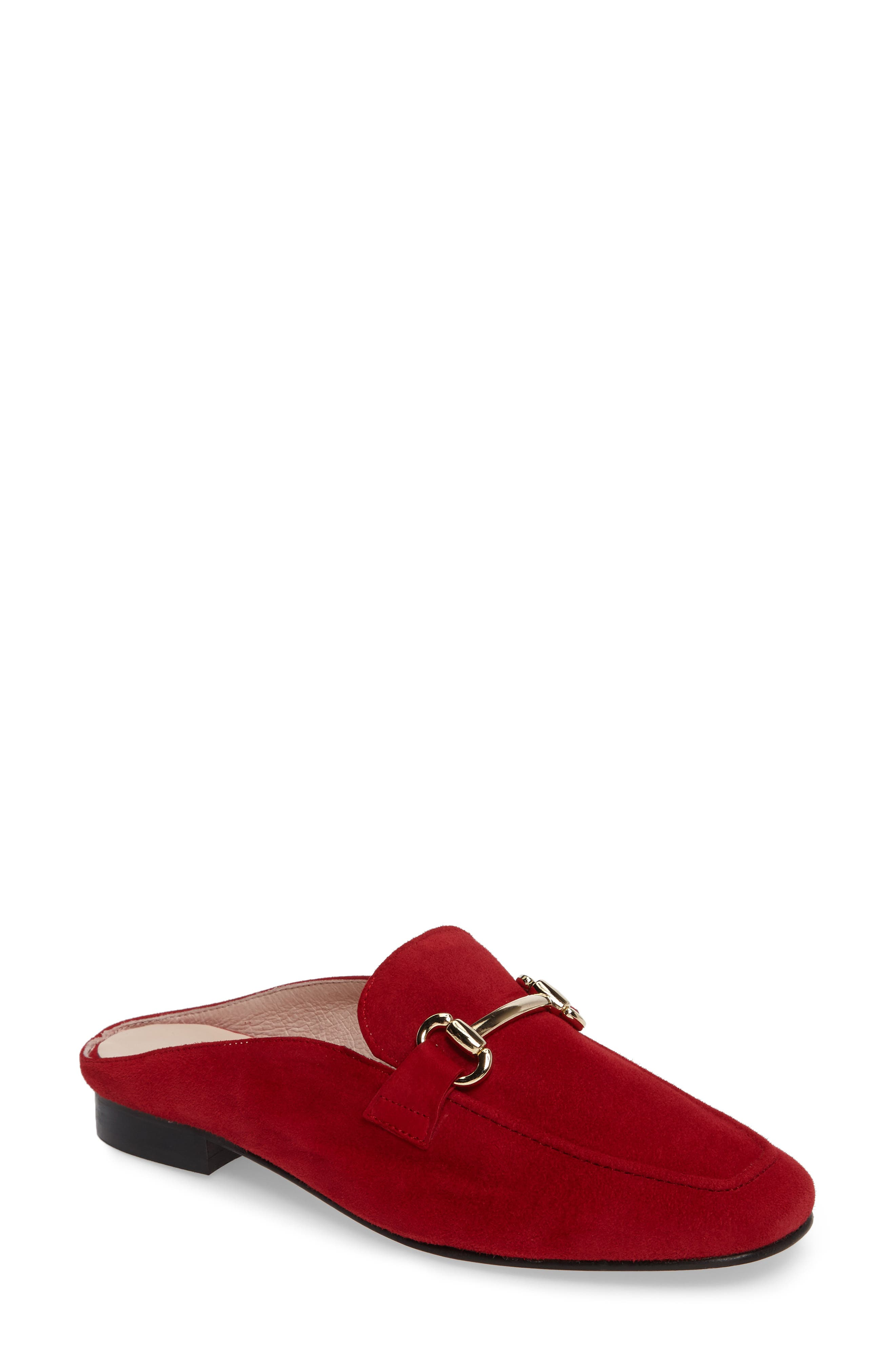 Sorrento Loafer Mule,                             Main thumbnail 1, color,                             RED SUEDE