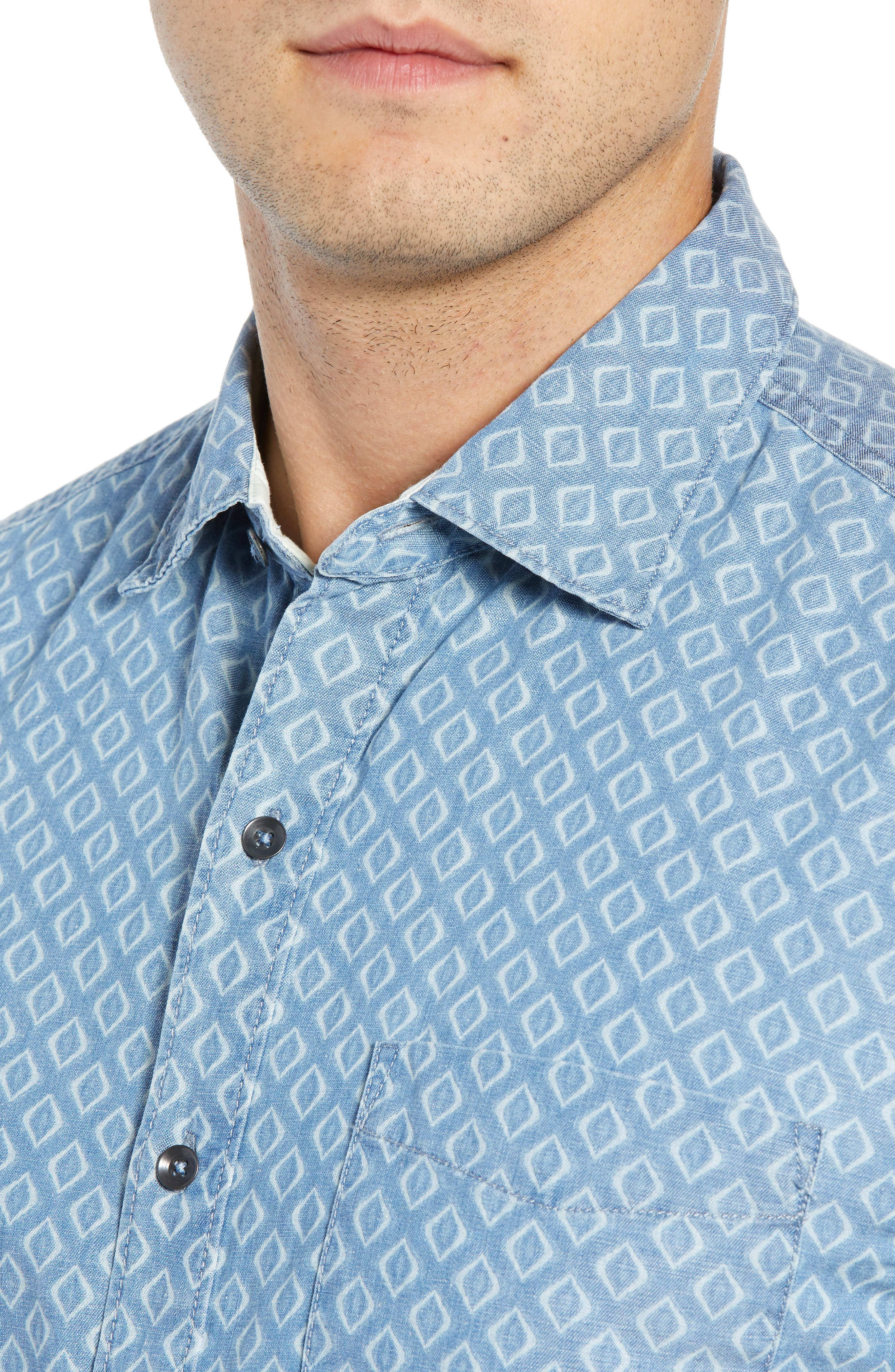 Geo Indigo Regular Fit Sport Shirt,                             Alternate thumbnail 2, color,                             400